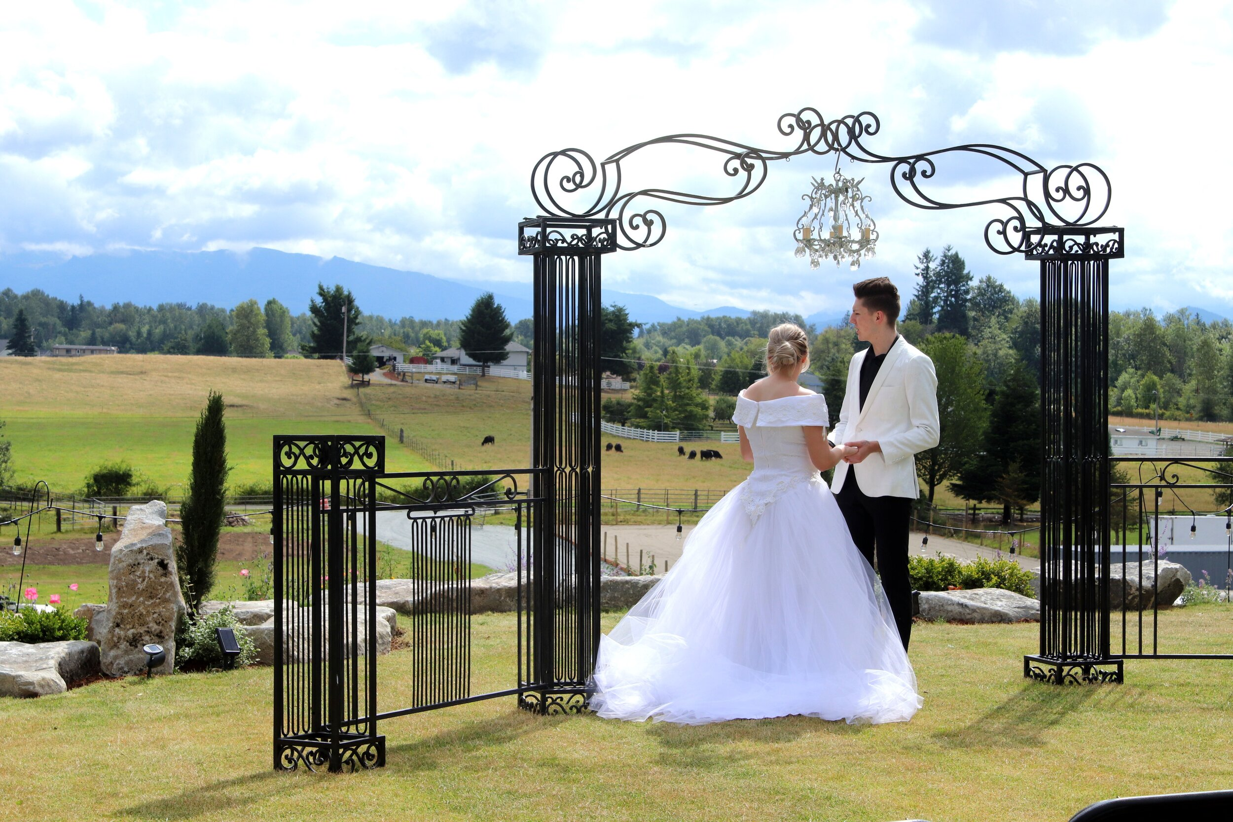 The Hidden Farm   253-244-1021   EMAIL   A 100 yr old working farm, indoor or outdoor weddings on the hillside or under covered pavilion for up to 225 guests, breathtaking views of Mt. Rainier and rolling hills, Bridal Cottage and old barn to enjoy!