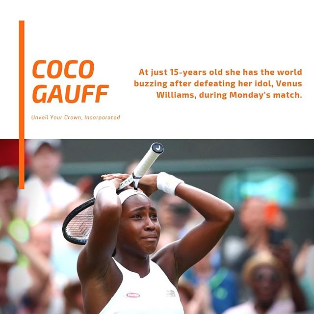 "Tennis prodigy, Cori ""Coco"" Gauff, is making waves at Wimbledon. Today, she is playing in the 3rd round against Polonia Hercog from Slovenia. — In an interview, Coco shared ""I want to be the greatest"", which is highly reminiscent of boxing legend, Muhammad Ali. Aspiring for greatness is so inspirational. — Coco we wish you all the best and much success!! — #UnveilYourCrown #UYC #WomenEmpowerment #BlackGirlMagic #BeTheLight #WalkInYourPurpose #Purposeful #PurposeDriven"