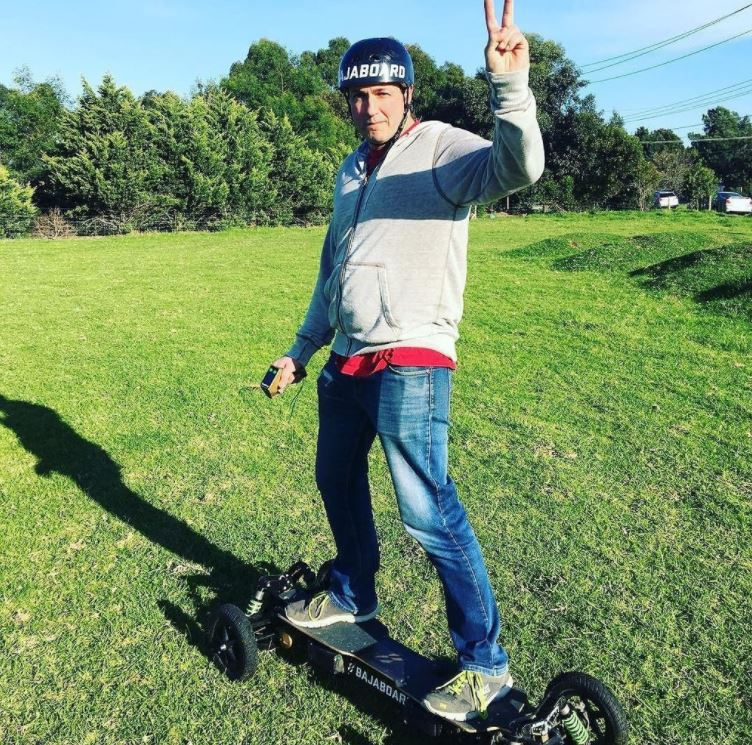 Riding the BajaBoard for the first time! Image credit: Tomcar Australia.