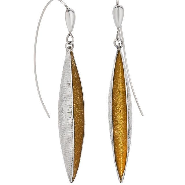 "Gold pod earrings, 2.75"" long. Other lengths at www.cydrowley.com  #elegantearrings #sterlingsilverearrings #cydrowley #momlove #chicfashion #chicaccessories #earringsoftheday"