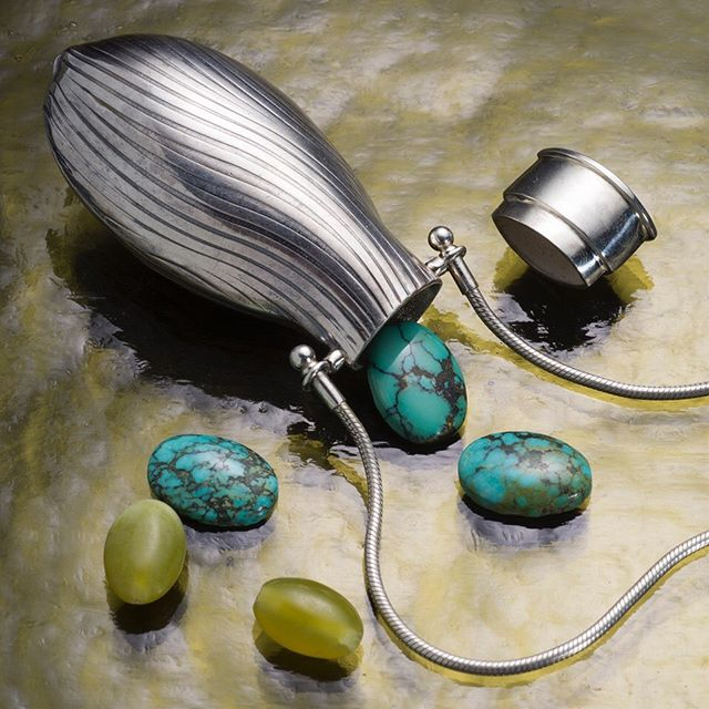 Turquoise is associated with energy, wisdom, creativity and emotional balance.  Keep your piece of turquoise in a special vessel pendant.  Browse at cydrowley.com #selfcareroutine #healingstones #intentionvessel #cydrowley #vesseljewelry #contemporaryart #wearabletherapy #wearablesculpture #wearablearts