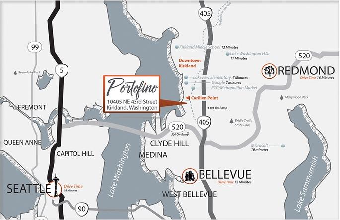 Portofino Area Map - Kirkland, Washington