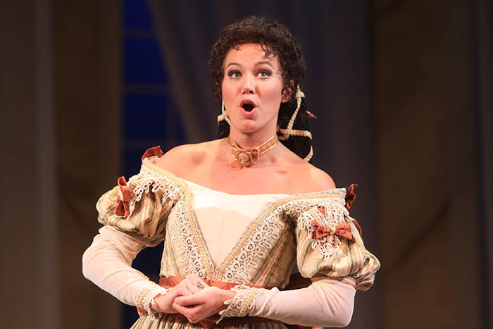 """Il barbiere di Siviglia, New York City - """"A winning cast delivered a thoroughly enjoyable Barbiere, with vocal honors going to mezzo Kirsten Scott's vibrant, vivacious Rosina. Scott sailed through the coloratura with creamy tone and charm to burn.""""– Joanne Sydney Lessner (Opera News, 2014)""""Kirsten Scott, whom we have enjoyed in Mozart, Puccini and Offenbach, had a wonderful time as Rosina, fearlessly tackling Rossini's daunting coloratura in """"Una voce poco fa"""". She succeeded in winning over the audience."""" – Meche Kroop (Voce di meche, 2014)"""