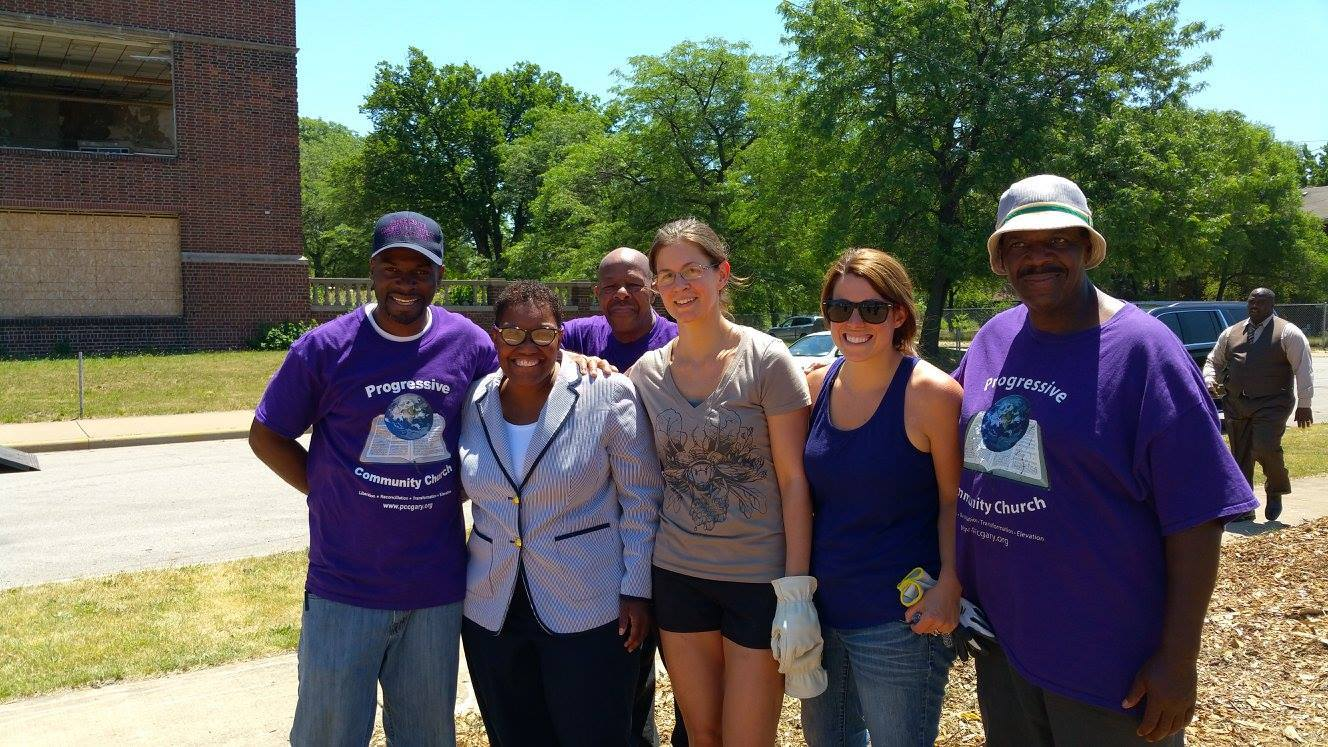 (L-R) Pastor Curtis Whittaker; Gary Mayor Karen Freeman-Wilson; Council board members Sarah Highlen & Anne McShane-Massie; Progressive Church volunteer