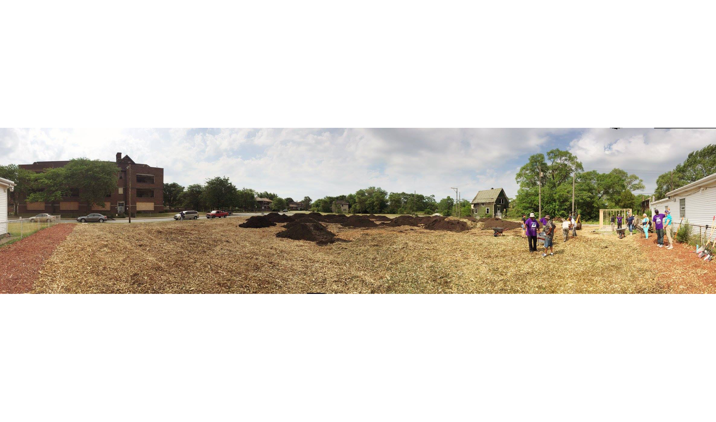 Day 1: Mulch has been spread, the plan has been mapped out, and some dirt-moving has begun