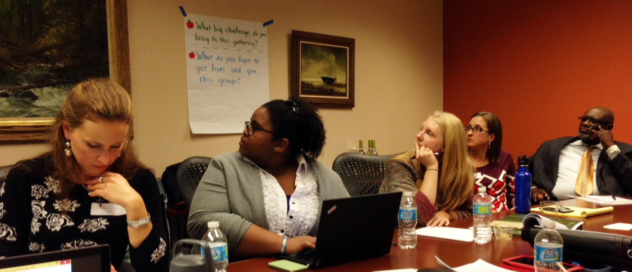 NWI Food Council board members during a 2016 planning session. Left to right: Gabrielle Biciunas, Dominique Edwards, Lyndsay Ploehn, Nicole Negowetti, Pastor Marty Henderson.