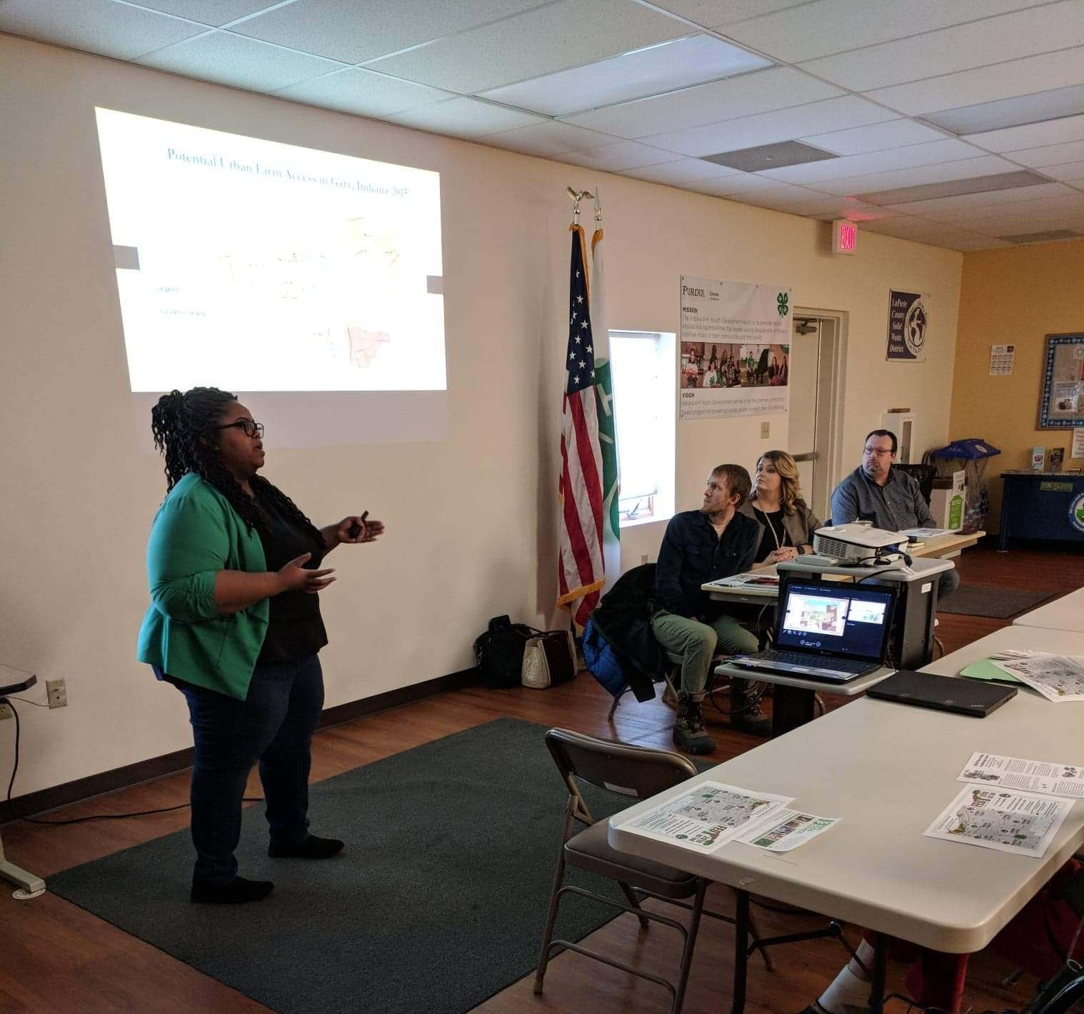 NWI Food Council Board Member, Dominique Edwards, discusses food insecurity in NWI with attendees at LaPorte County Master Gardeners Brown Bag Series on local food.