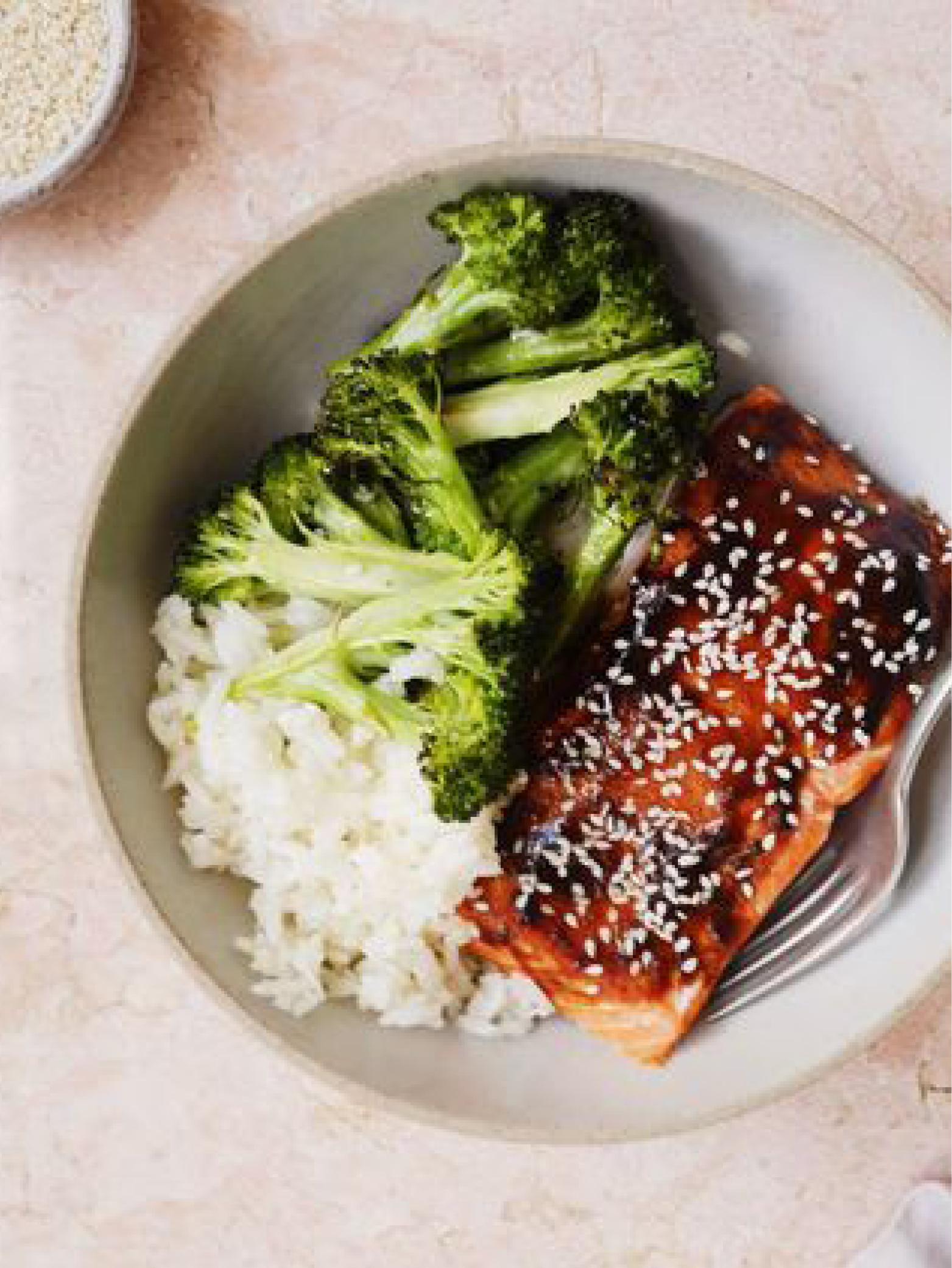 Hoisin-Glazed Salmon with Broccoli and Sesame Rice  Delish