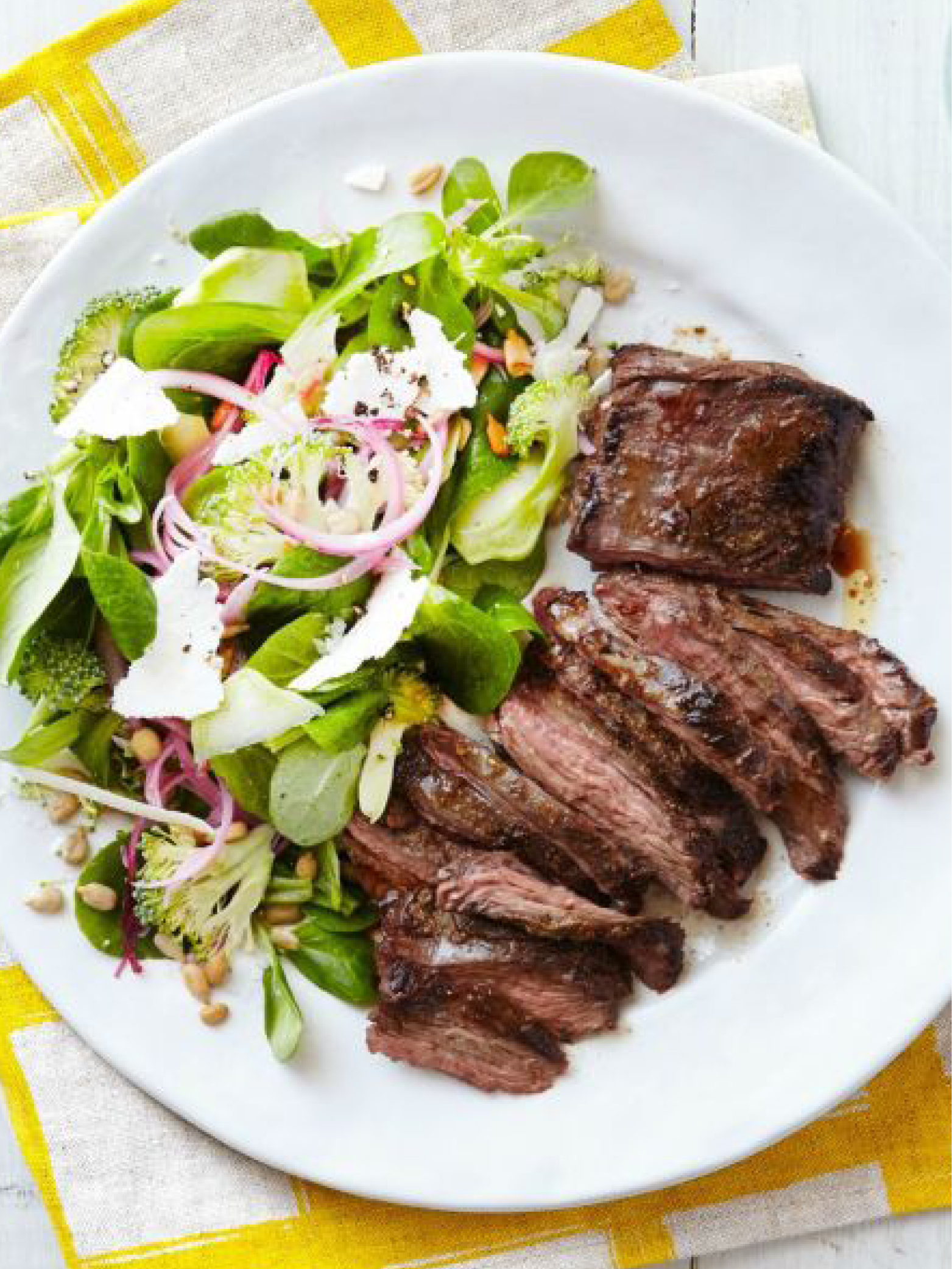 Spiced Skirt Steaks with Raw Broccoli and Mâche Salad  Country Living