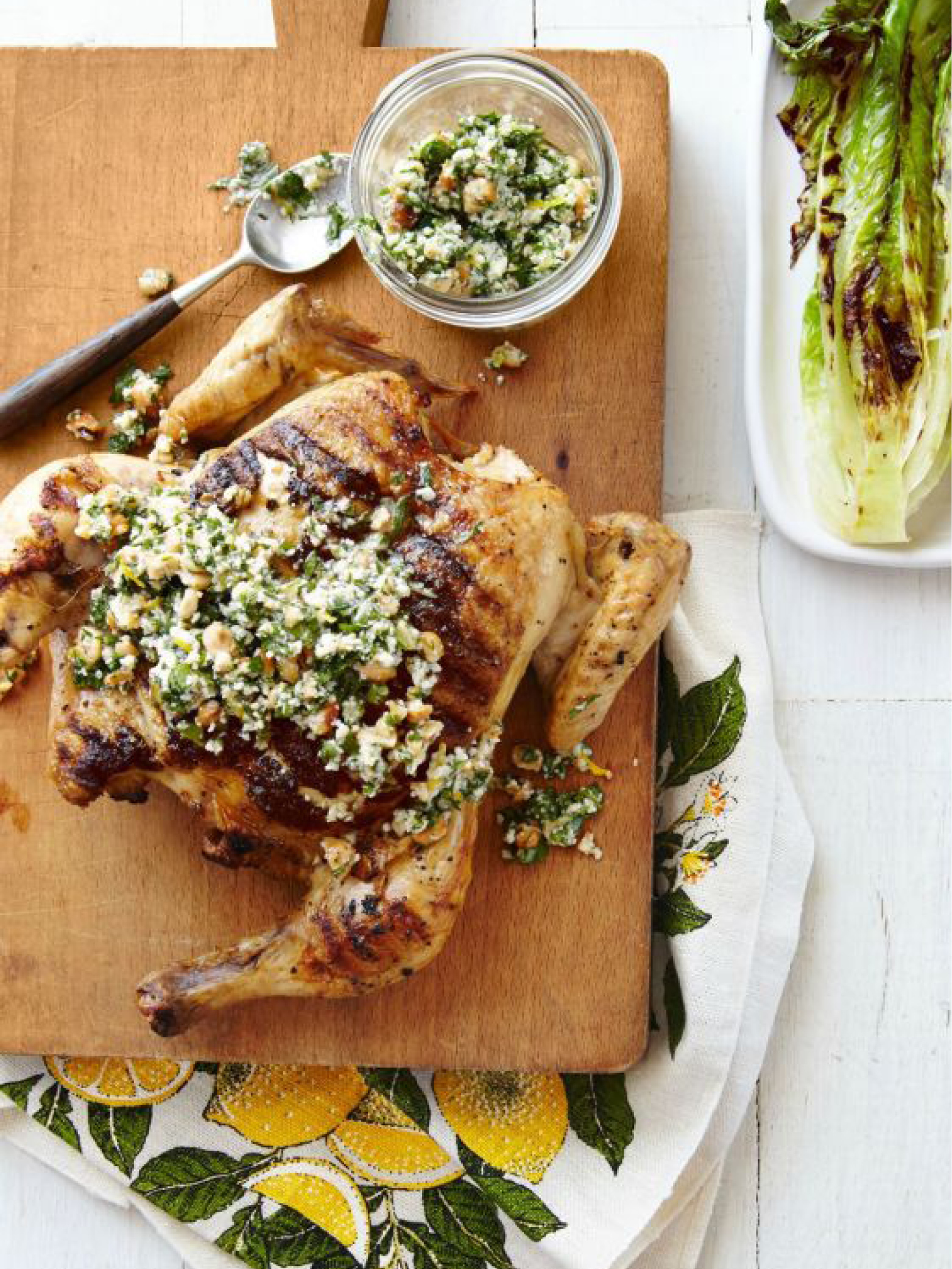 Flattened Chicken and Grilled Romaine with Parsley-Lemon Sauce  Country Living