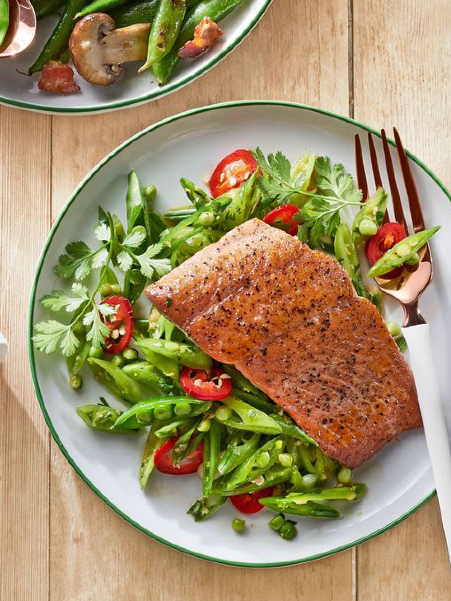Gingery Snap Pea Slaw with Seared Salmon  Country Living