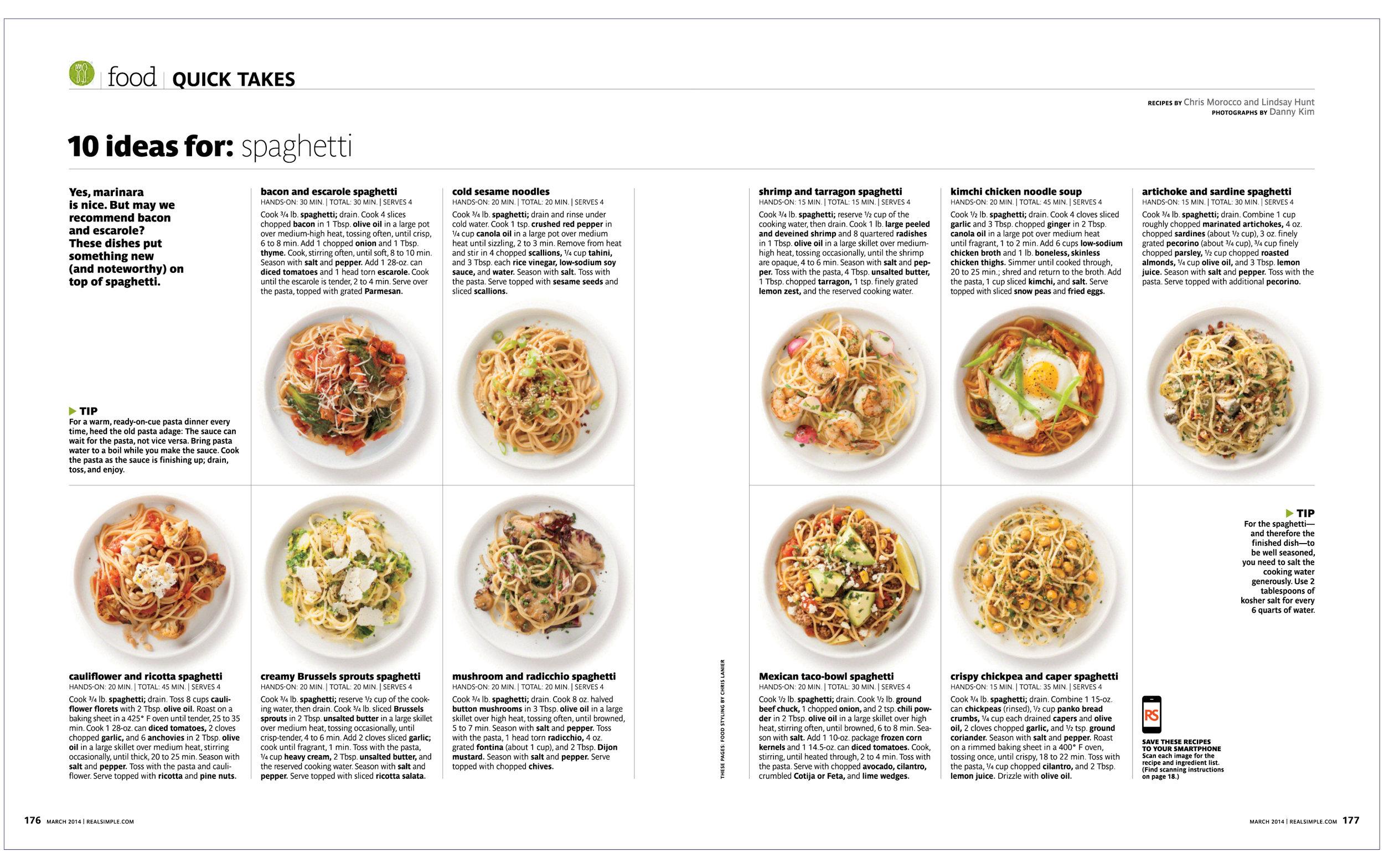 10 Ideas For: Spaghetti  Real Simple
