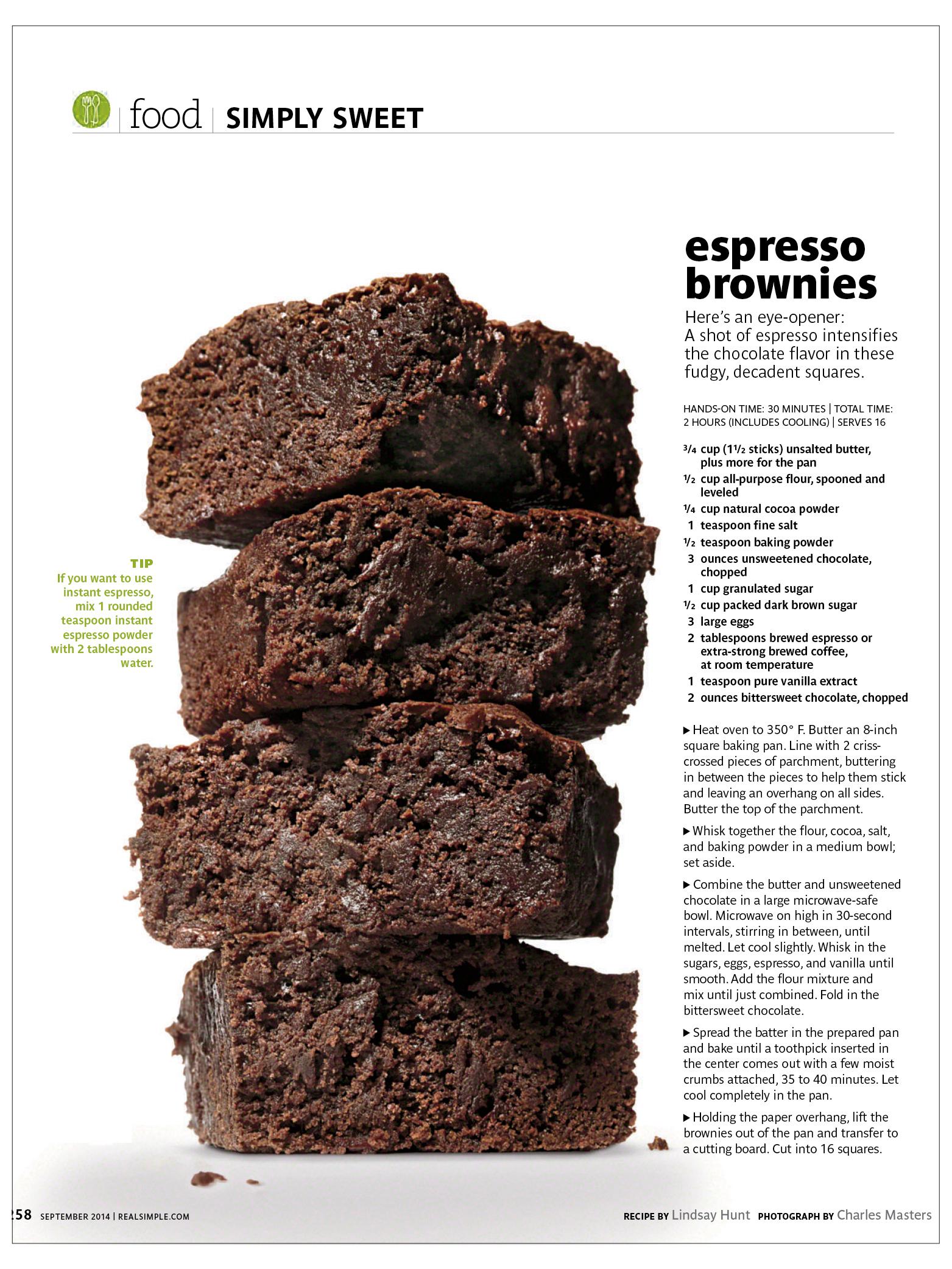 Espresso Brownies  Real Simple