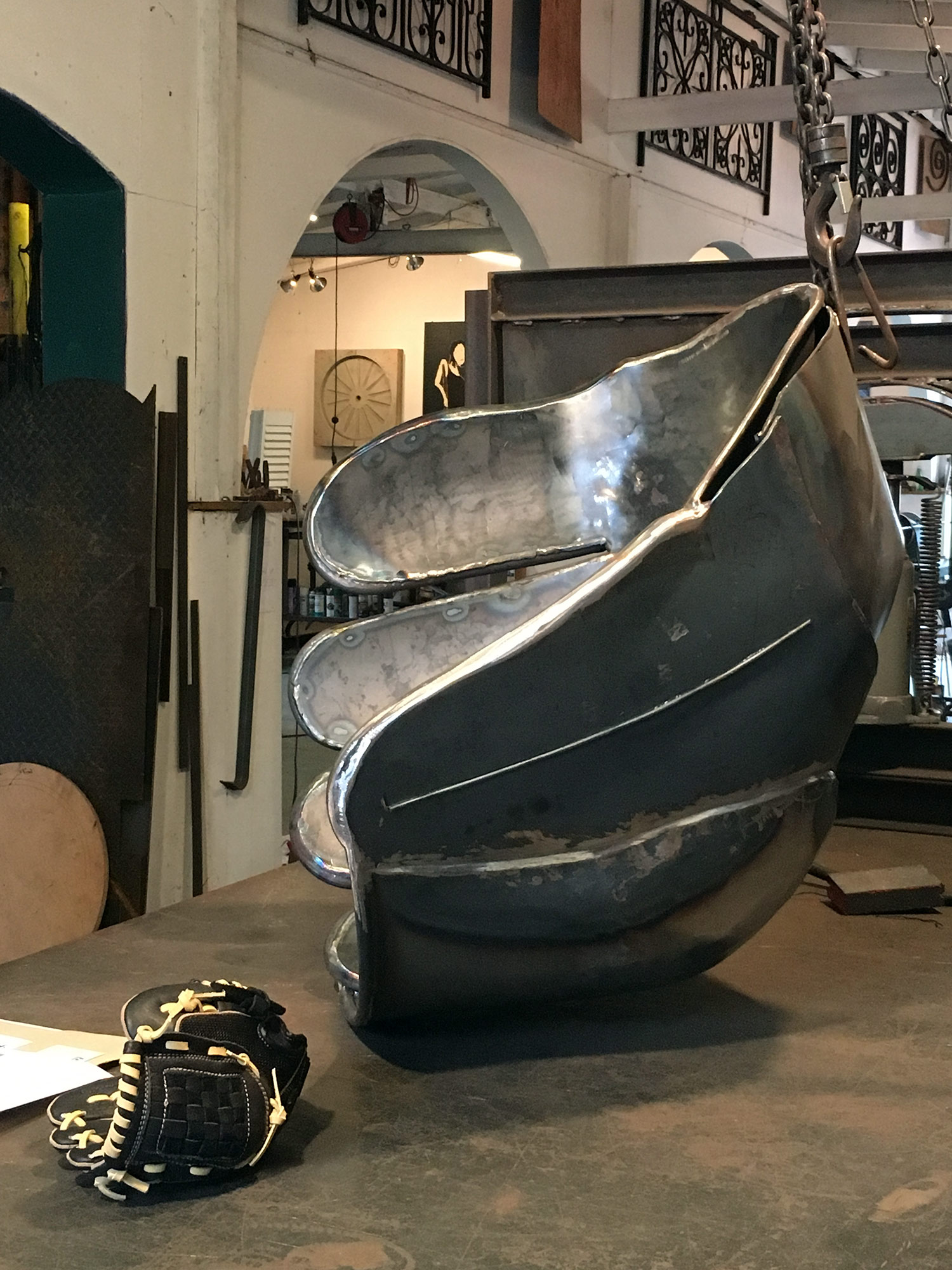 Actual size baseball glove as model for fabrication in steel