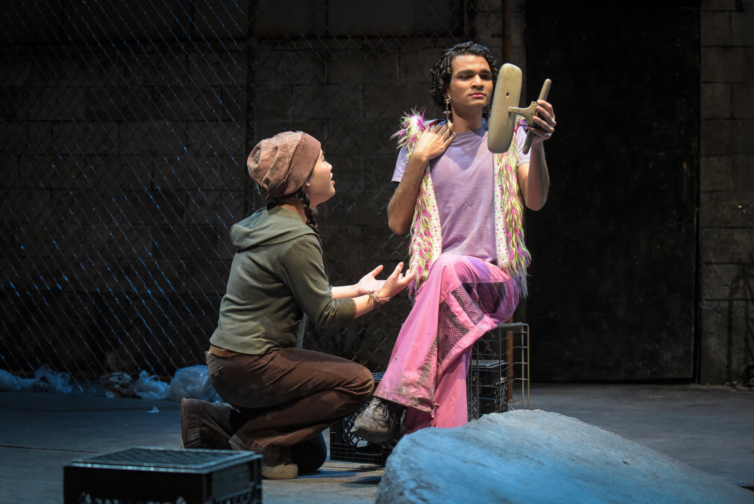 Narcissus (Akash Patel) preens in a broken-off rearview mirror, while runaway Echo (Jessica Li-Jo) compliments and envies him. Photo: Alessandra Mello.