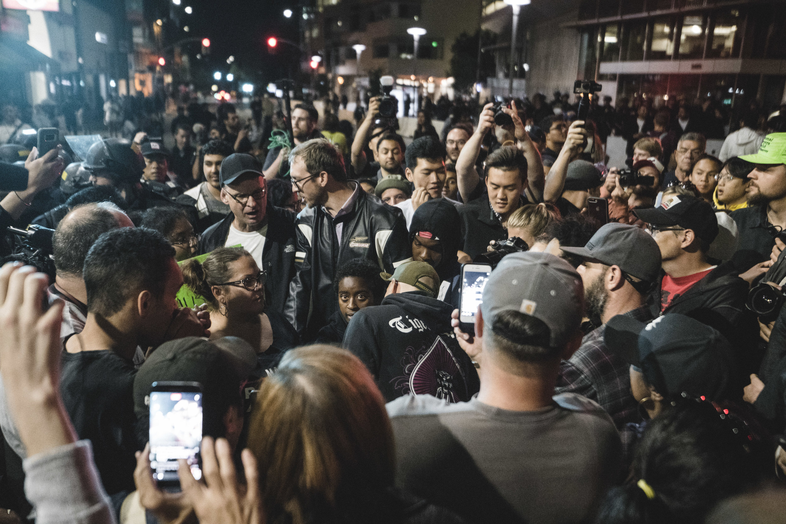 A trio of outspoken men provoke an angering group of counter-protesters. Within minutes, a handful of individuals are arrested.