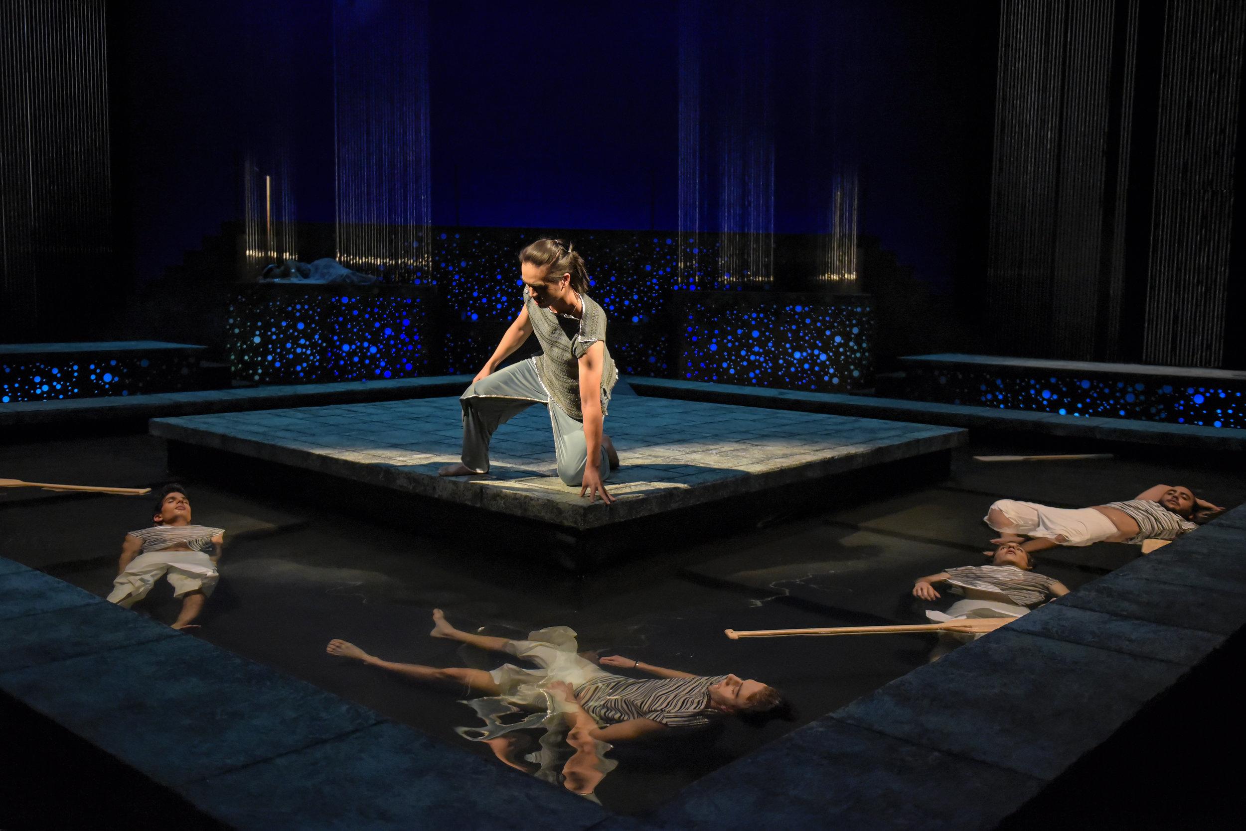Poseidon's attack on Ceyx's (Tri Le) ship proves fatal.   Photos: Alessandra Mello