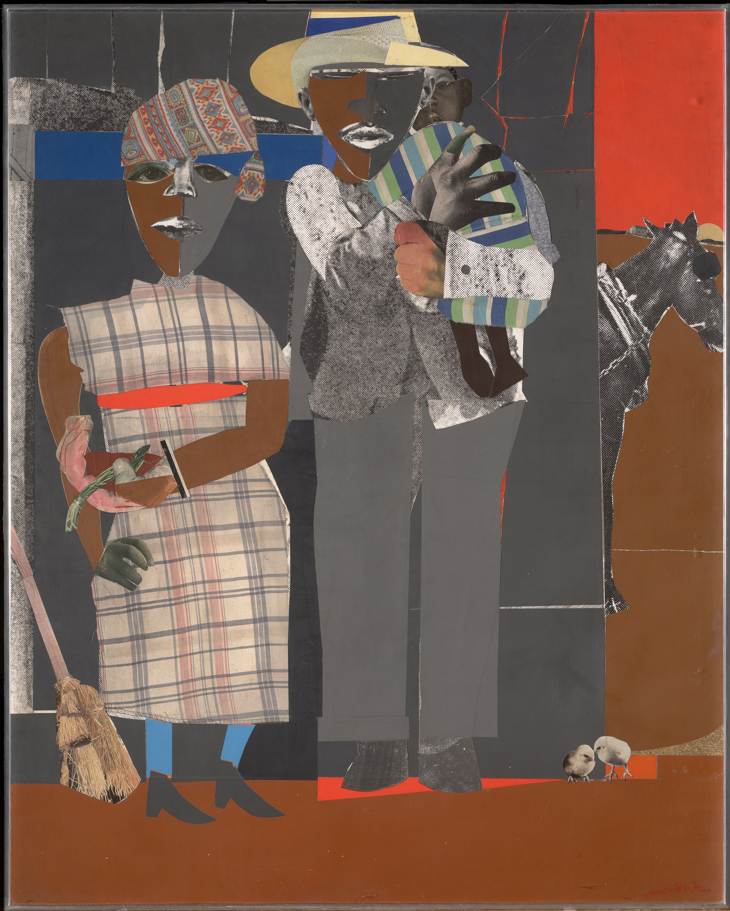 Romare Bearden:  Continuities , 1969; collage on board; 50 x 43 in.; BAMPFA, gift of the Childe Hassam Fund of the American Academy of Arts and Letters. © 2019   Romare Bearden Foundation/Licensed by VAGA at Artists Rights Society (ARS), NY.