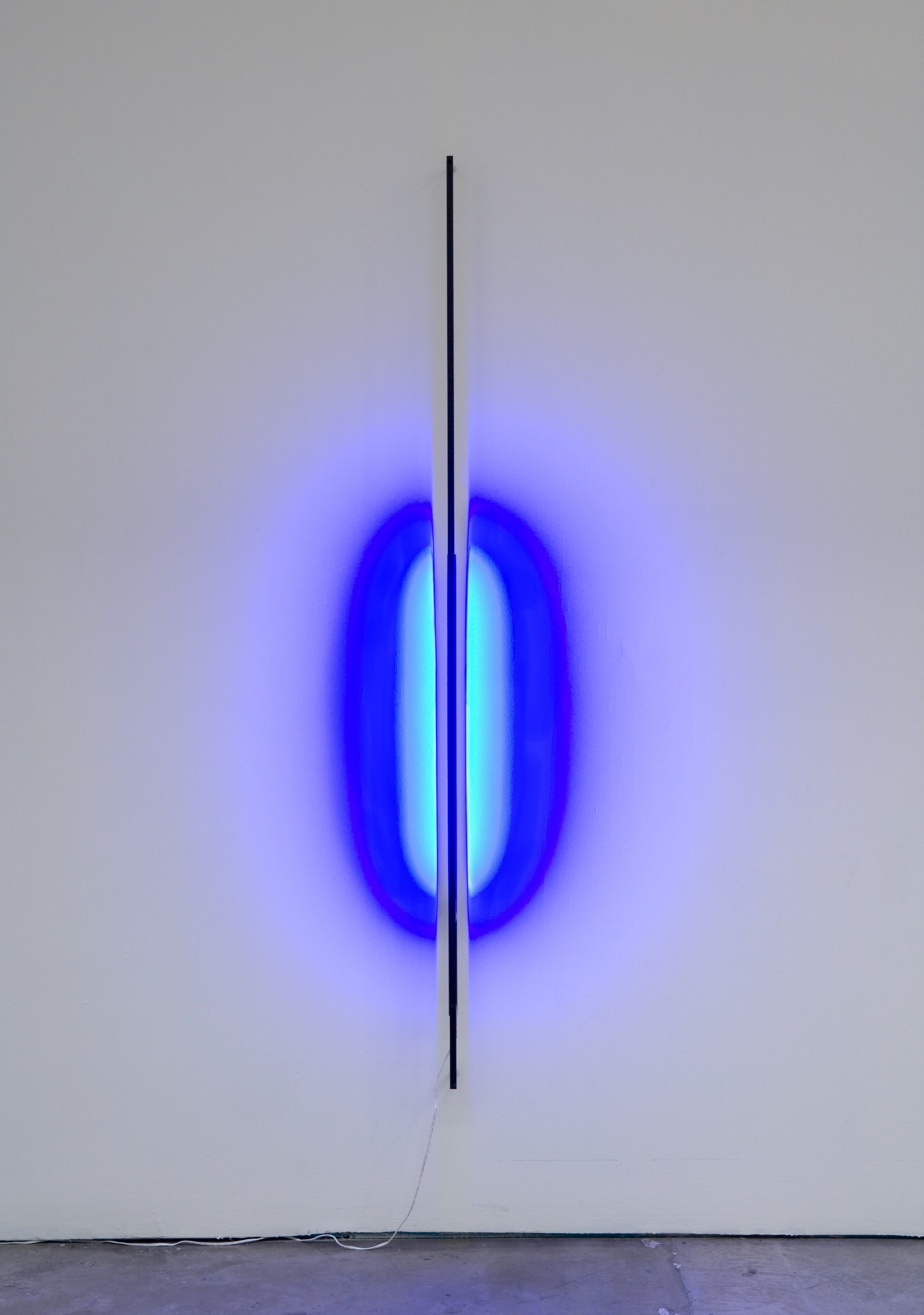 Kamau Amu Patton:  Light Bar, Blue , 2011; metal and LED strip; 72 1/2 x 1/2 in.; BAMPFA, Collectors' Circle purchase: Bequest of Phoebe Apperson Hearst, by exchange, with additional support from Elizabeth and James Adams. © Kamau Patton.