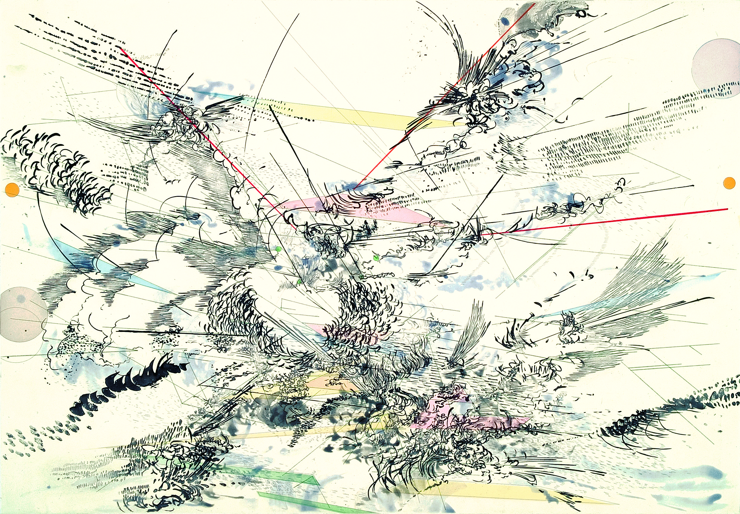 Julie Mehretu:  Local Calm, 2005; sugar lift aquatint with color aquatint, spit bit aquatint, and soft and hard ground etching and engraving, printed on gampi paper chine collé; 27 1/2 x 39 1/4 in.; BAMPFA, gift of Tecoah and Tom Bruce.