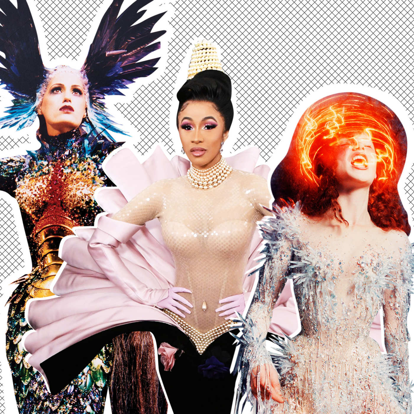 "Collage via The Cut, for ""7 Thierry Mugler dresses we want Cardi B to wear next"""