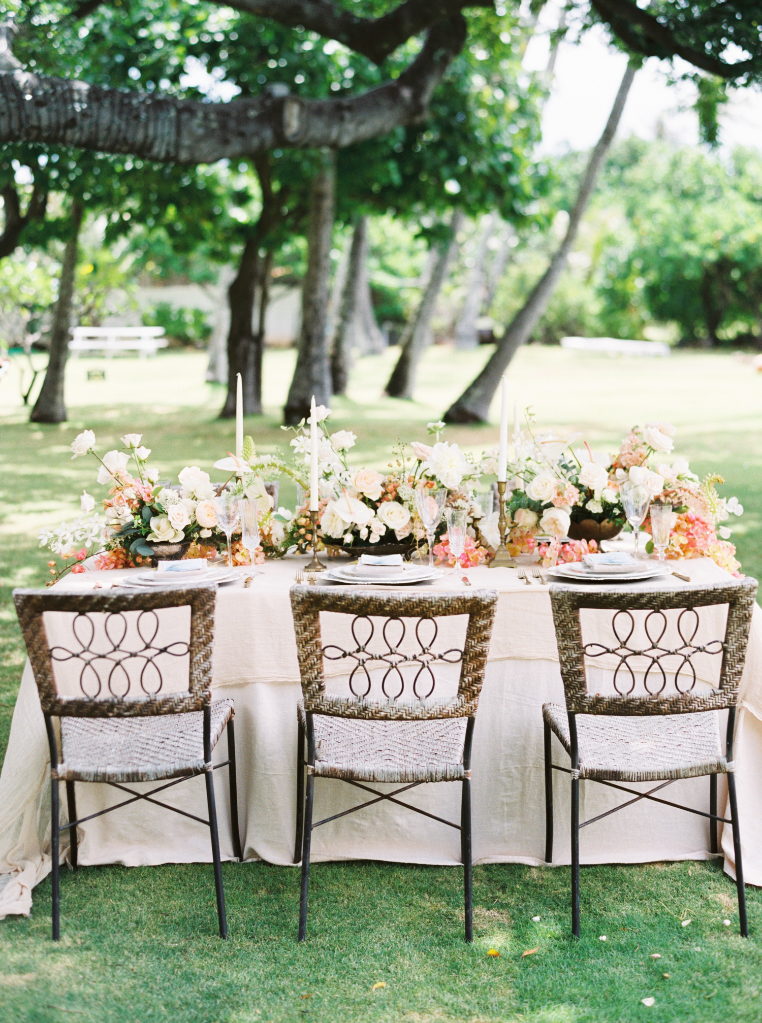Wedding table setting in tropical Hawaii for a destination wedding