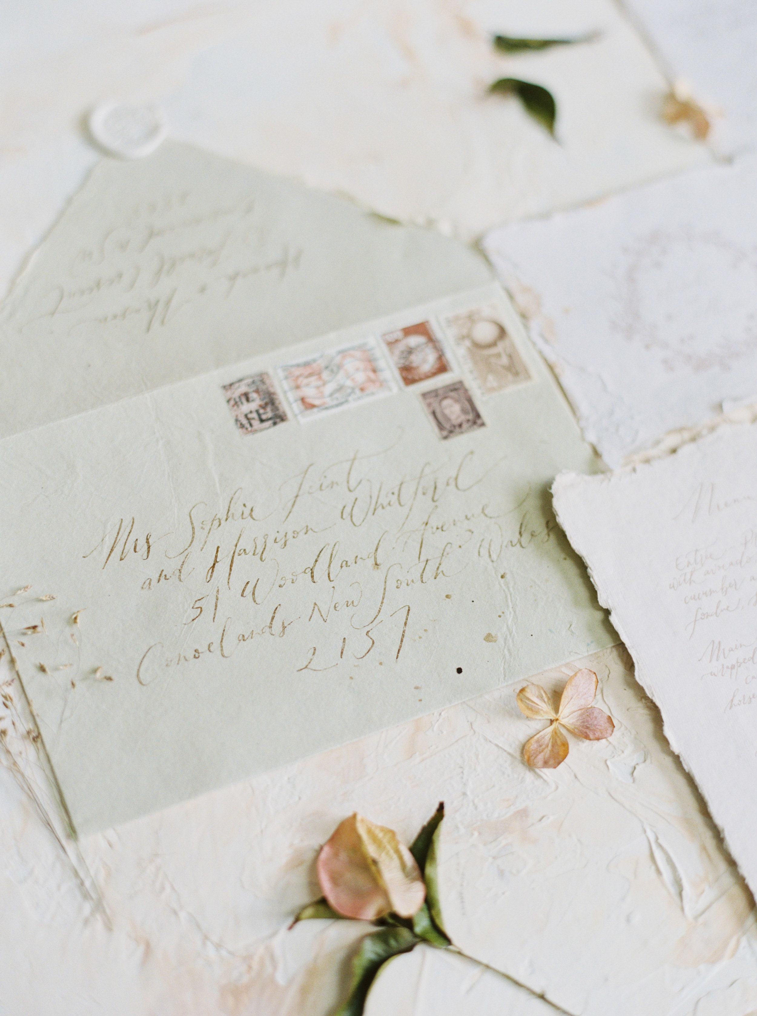 Artisan dried bridal flower arrangements for a Sydney wedding photoshoot - Fine art wedding calligraphy handmade paper suite