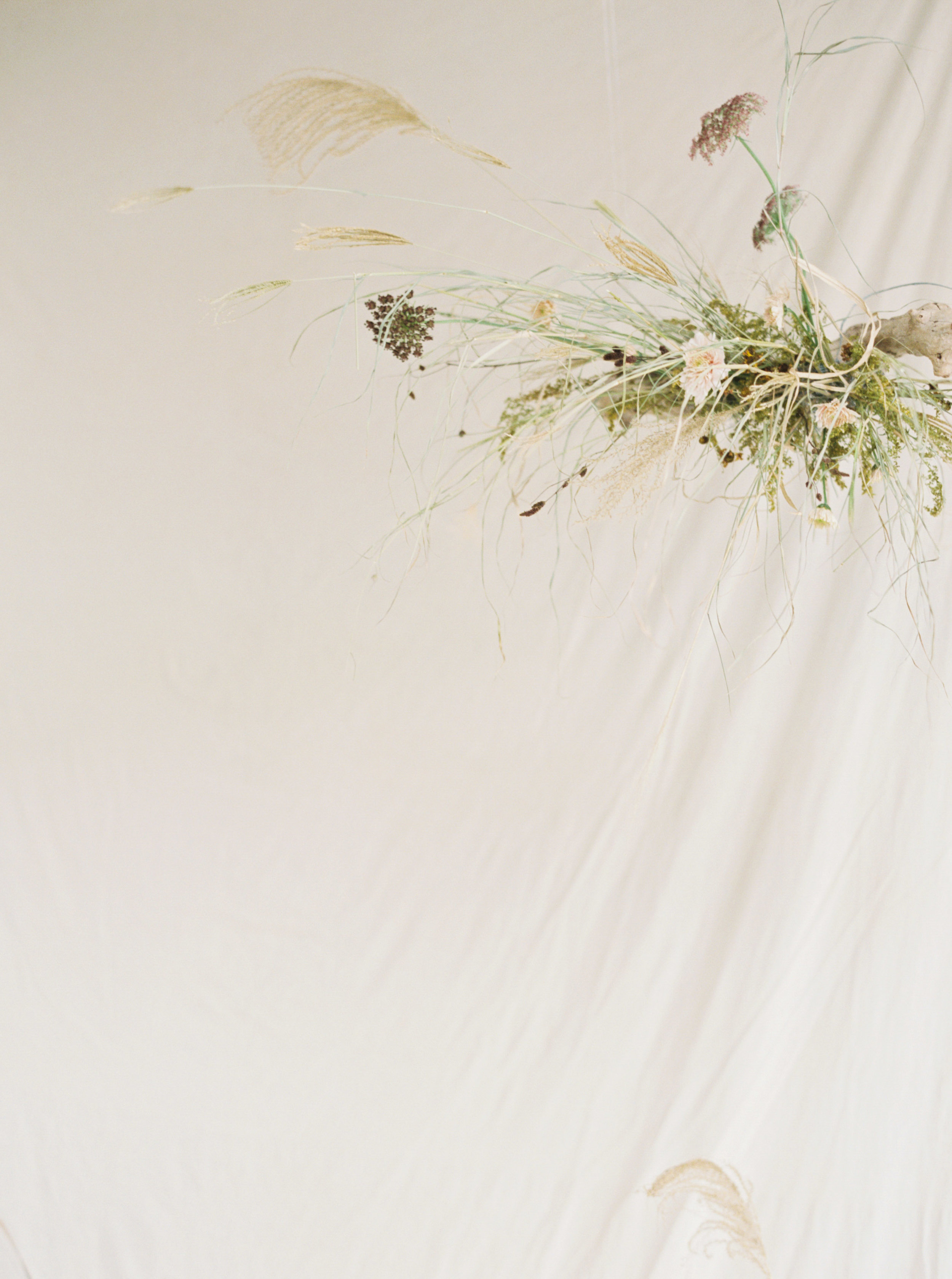 Copy of Autumn colour tones of artisian dried flower art installation with dreamy wedding ceremony backdrop design with trendy pampas grass