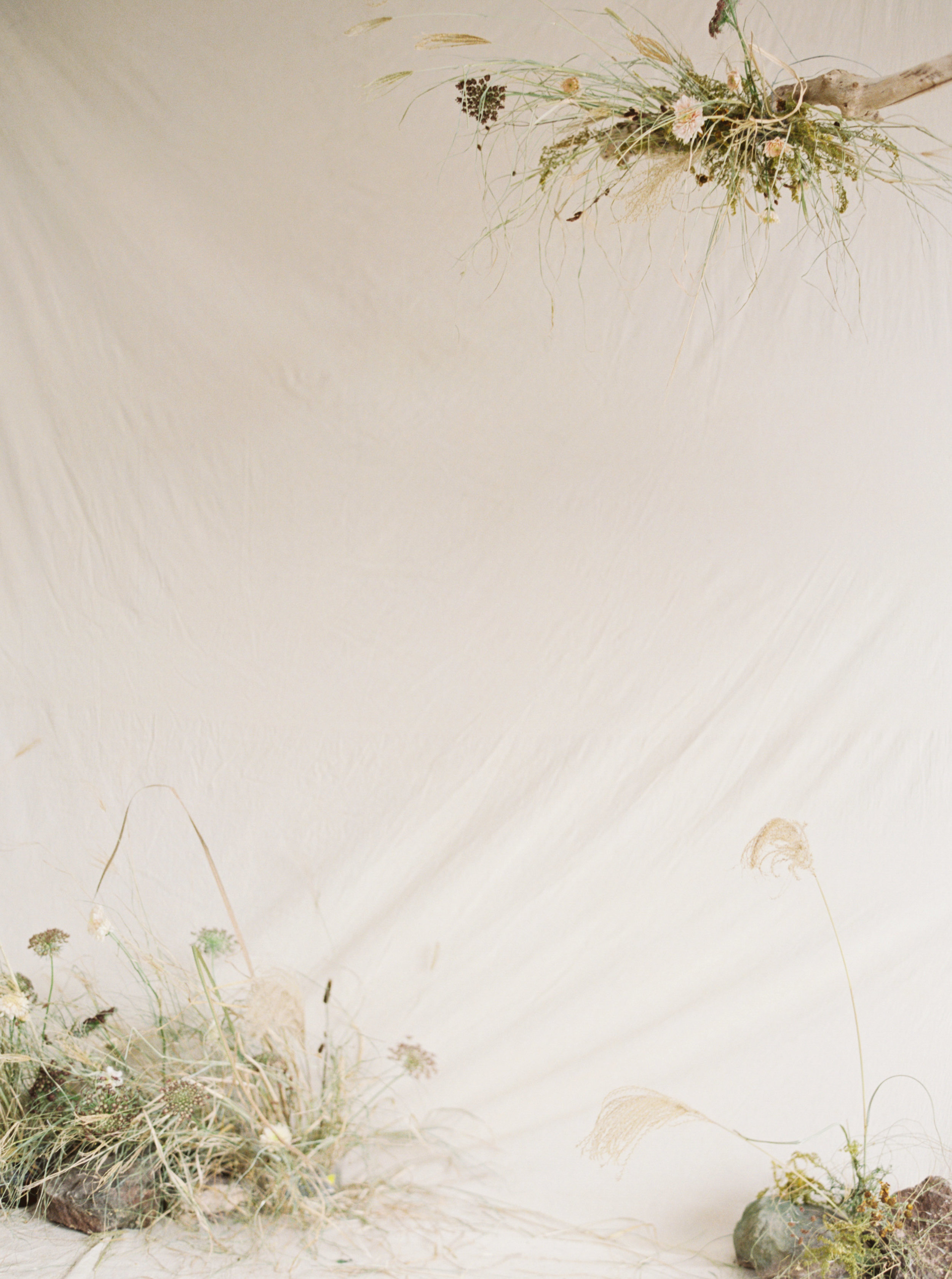 Artisan dried bridal flower arrangements for a Sydney wedding photoshoot - Autumn colour tones of artisan dried flower art installation with dreamy wedding ceremony backdrop design with trendy pampas grass by Idyll Flower Studio and Prajna Flowers and captured on fine art film by Sheri McMahon Photography