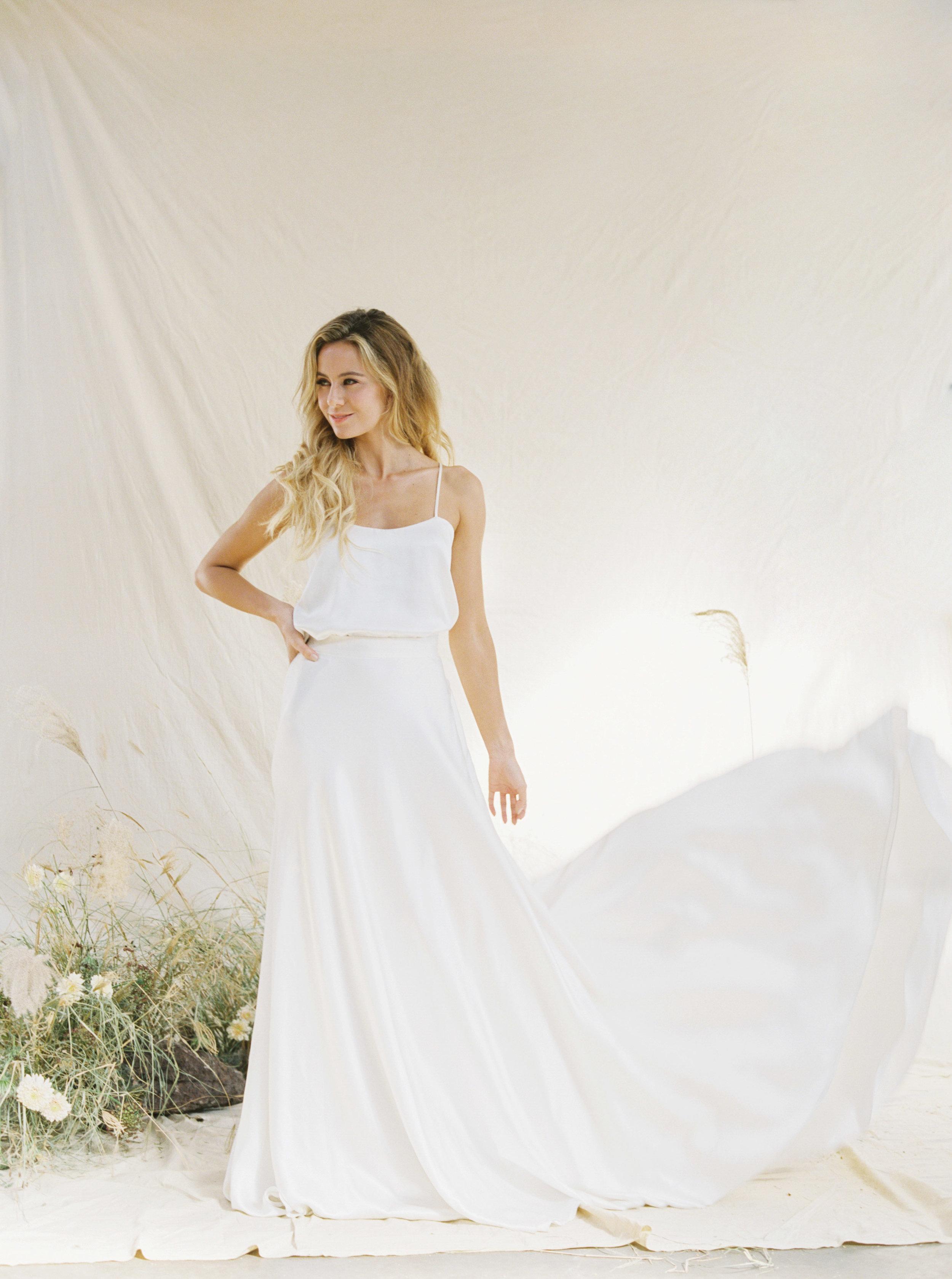 Artisan dried bridal flower arrangements for a Sydney wedding photoshoot with bride wearing sleek wedding gown