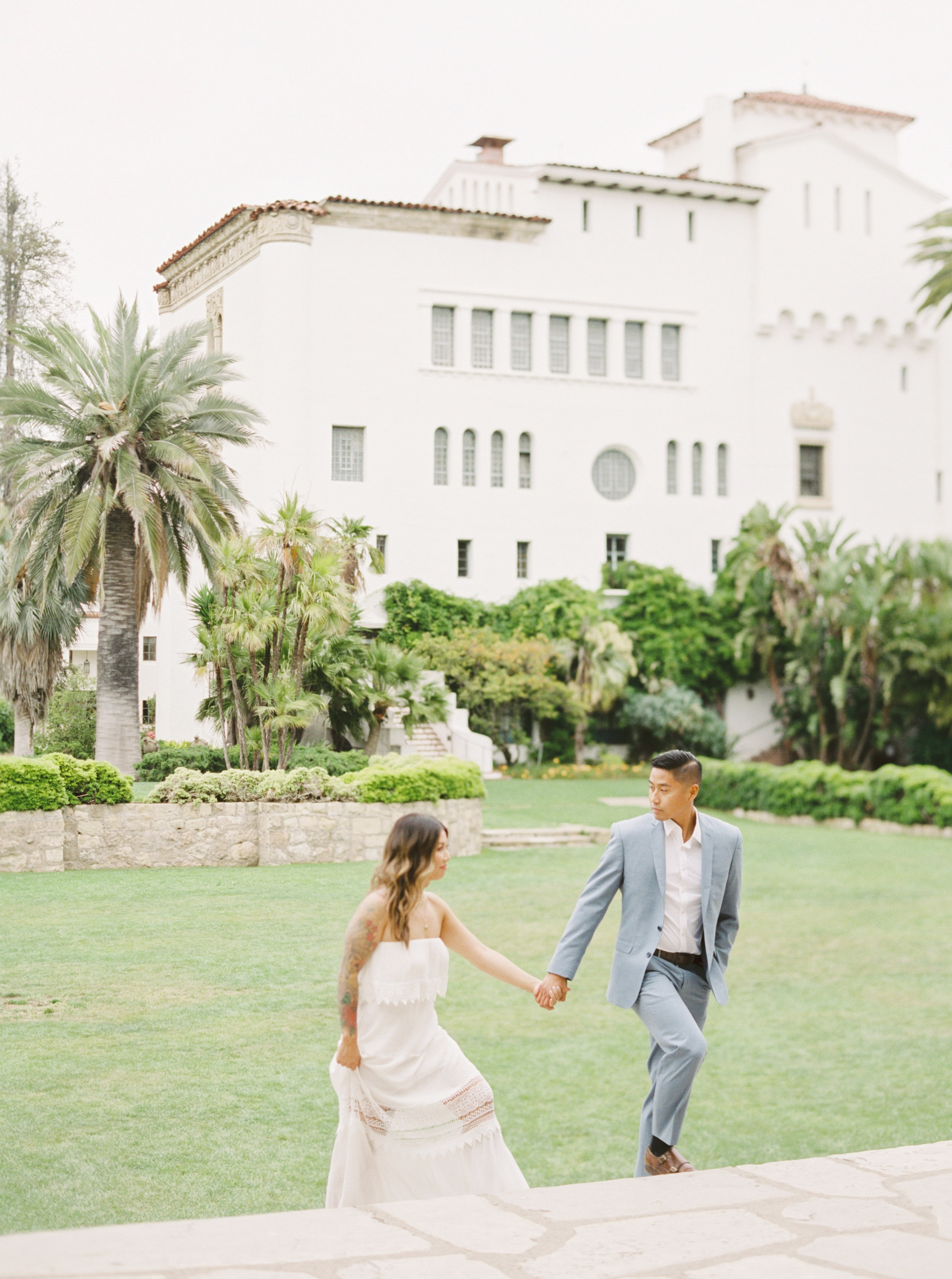 Santa Barbara California Fine Art Film Wedding Photographer Sheri McMahon - Spanish influence architecture - Downtown Santa Barbara - Santa Barbara Courthouse