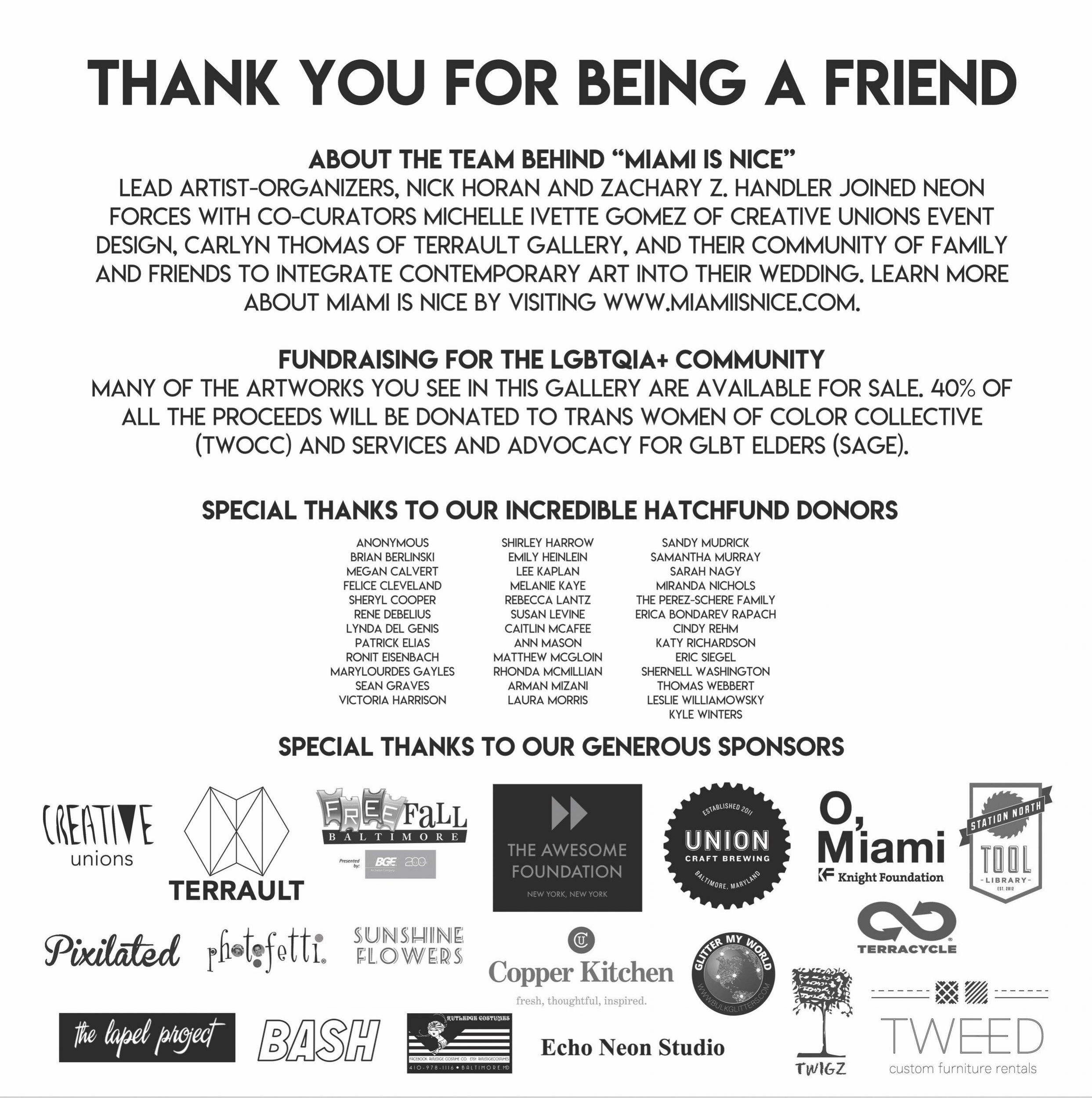 A special thanks to everyone who made this Creative Union possible!