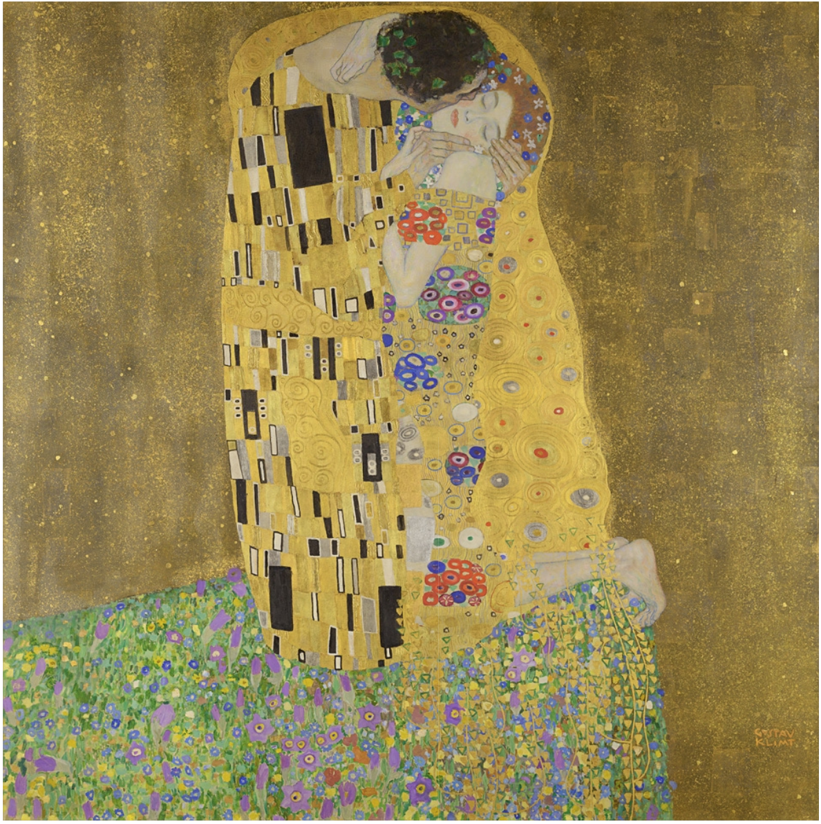 Gustav Klimt, The Kiss. Image sourced from  Google Arts & Culture
