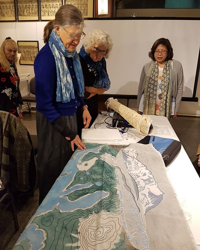 At our VGFA meeting last night Bettina Matzkuhn @matzkuhn took us on a journey of her map making in textiles. Fascinating hearing about her design process, inspirations and practical adventures using fibre to record her experiences while travelling....on a bike....and hiking! #slowstitch #fibreart #mapmaking #textiletravels #naturerecording #vgfa