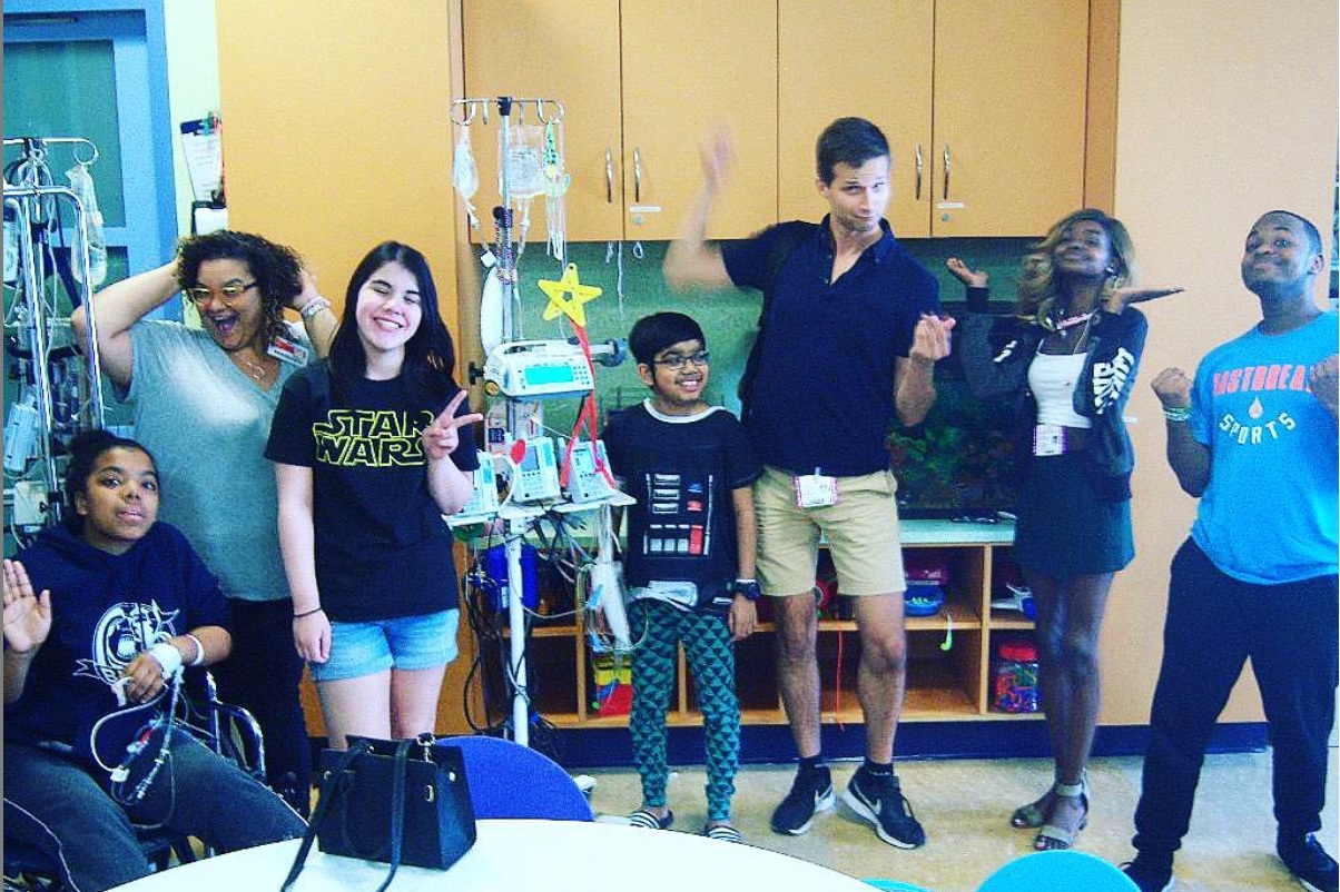 Philip Markle of the Brooklyn Comedy Collective teaches a three week work shop with teens at NYC Hospital.
