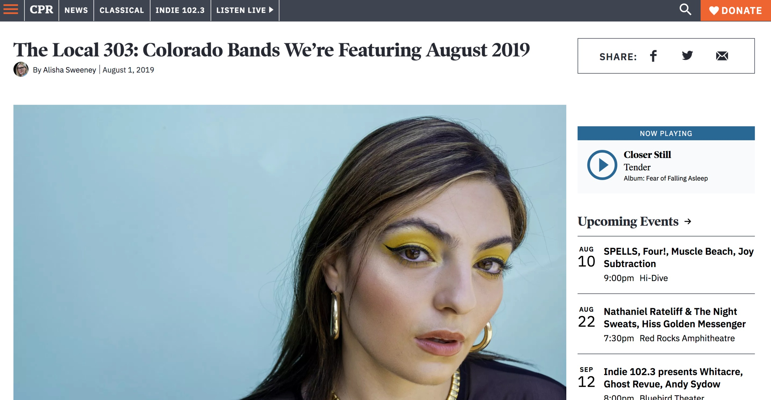 YaSi featured as one of  Colorado Public Radio's  featured artists in August of 2019.