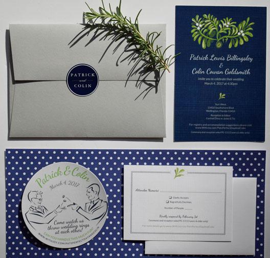 Navy And Green Wedding Invitation Patrick Colin The