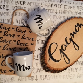 Mugs, wood sign, gift bag and wrapping paper by  Raleigh Calligraphy & Design