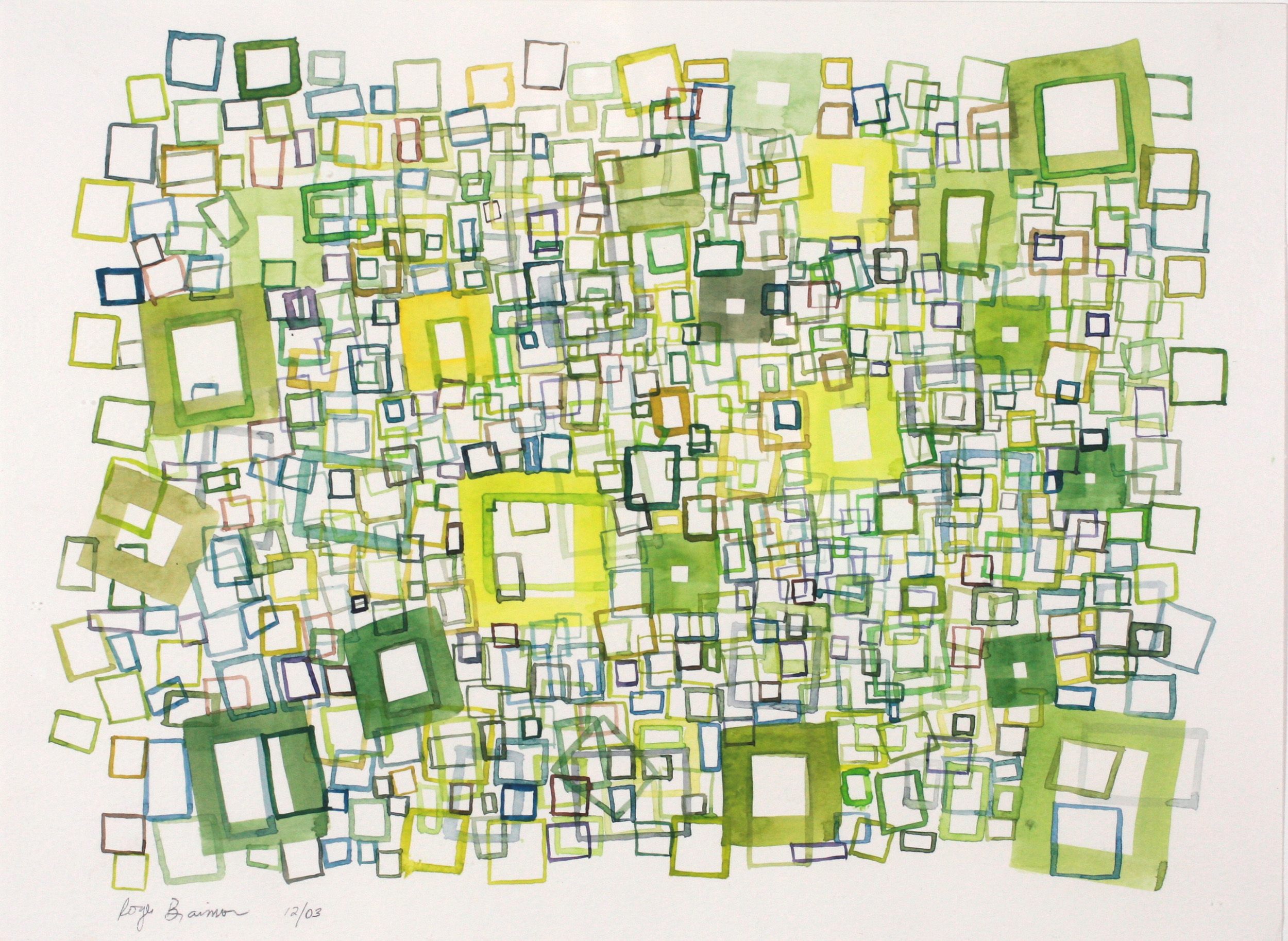 "2003. Green Squares. 9 x 12"""