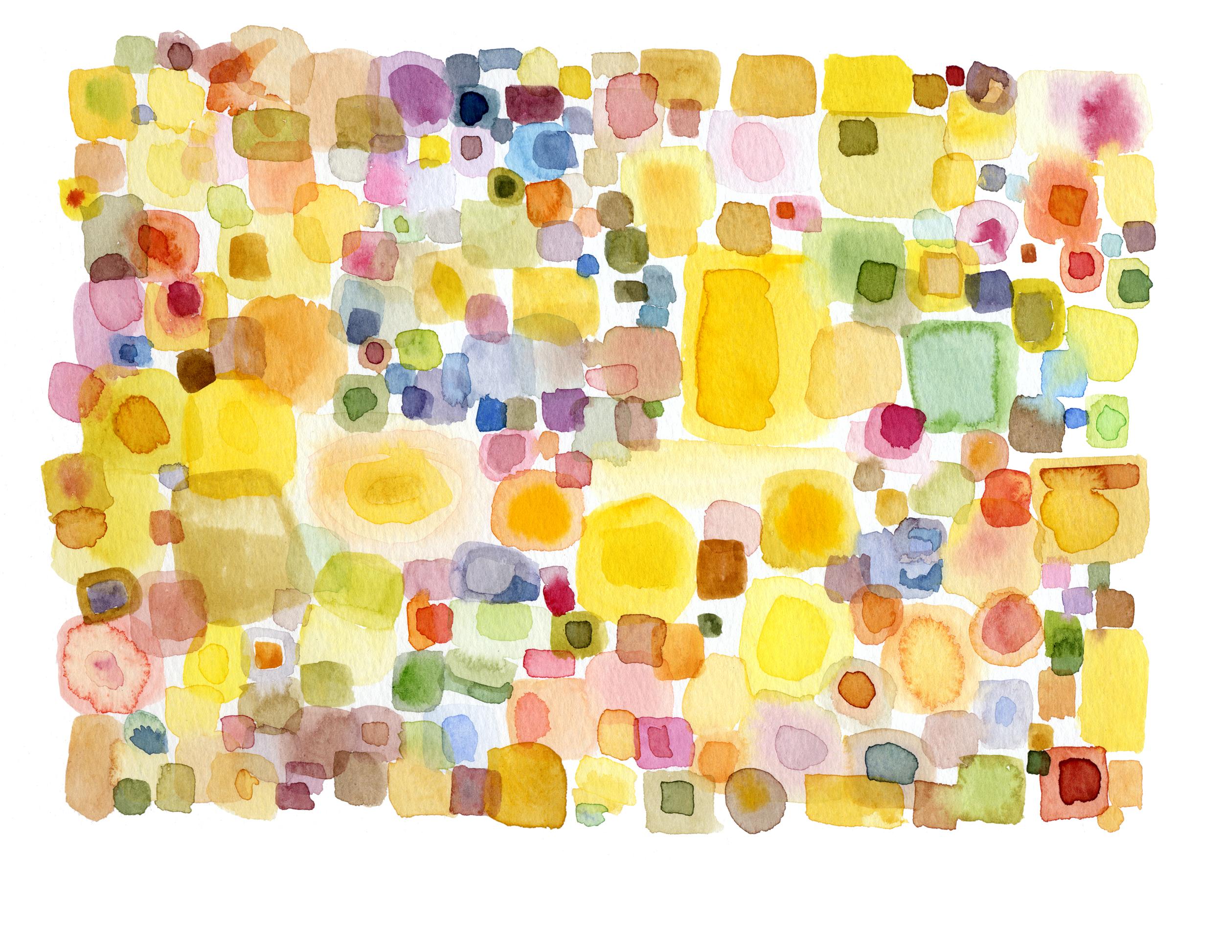 "2007. Yellow Squares. 9 x 12"""