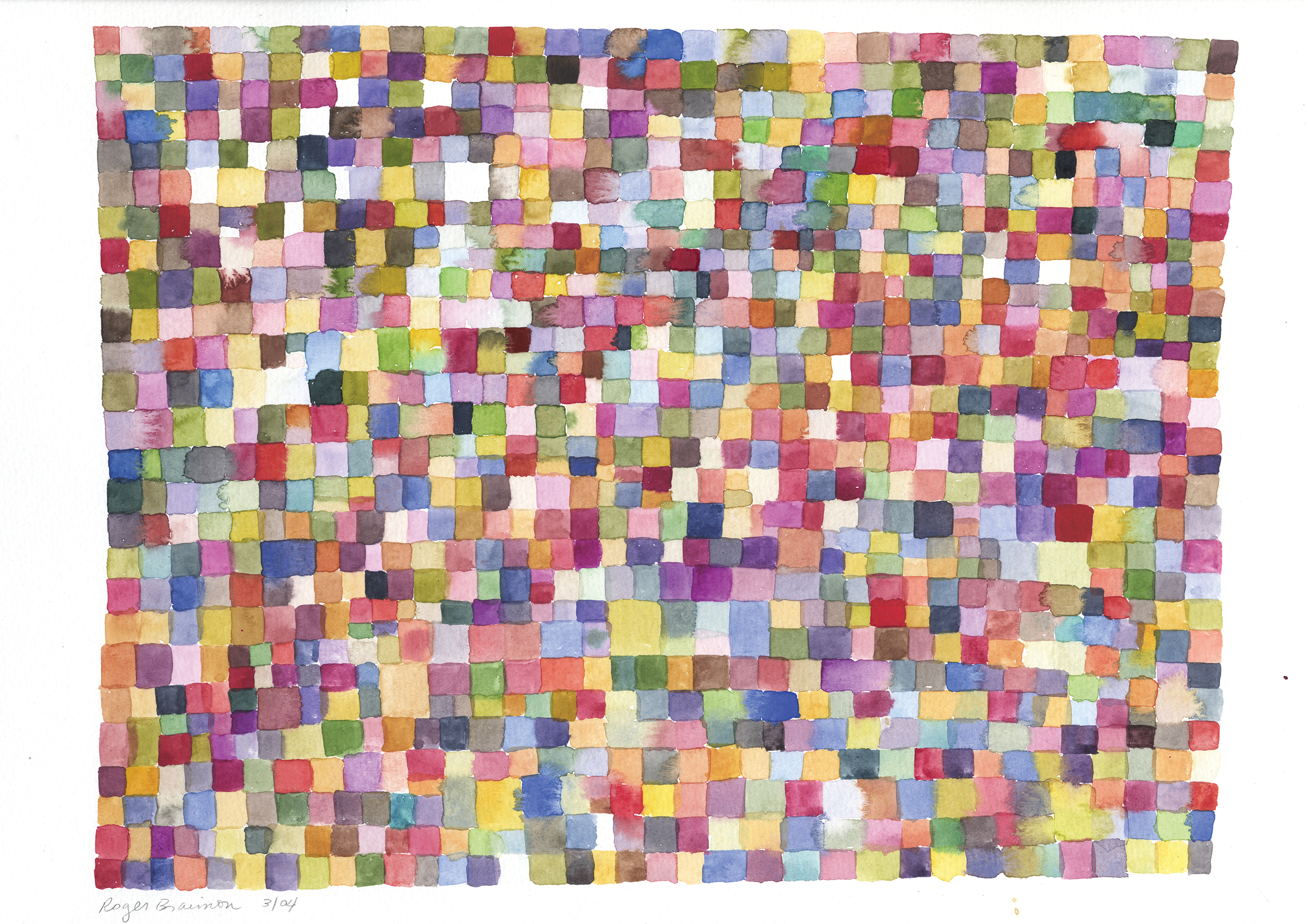 """2004. 100's of squares. 24 x 30"""""""