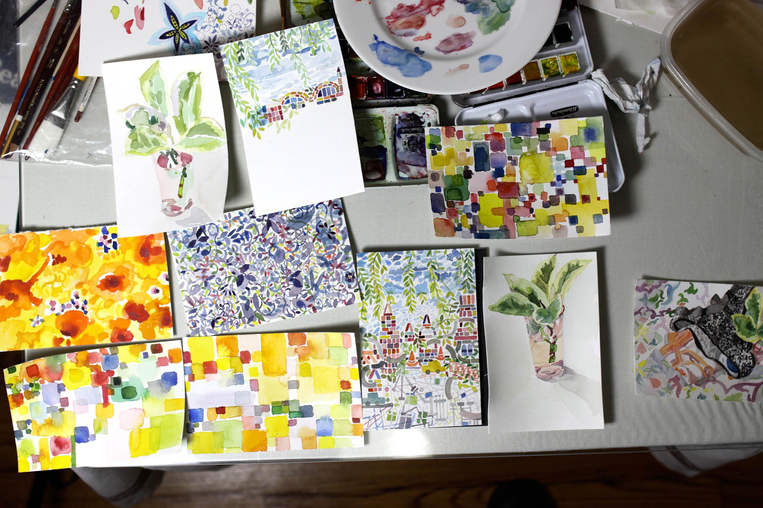 2008. Postcards in studio photo