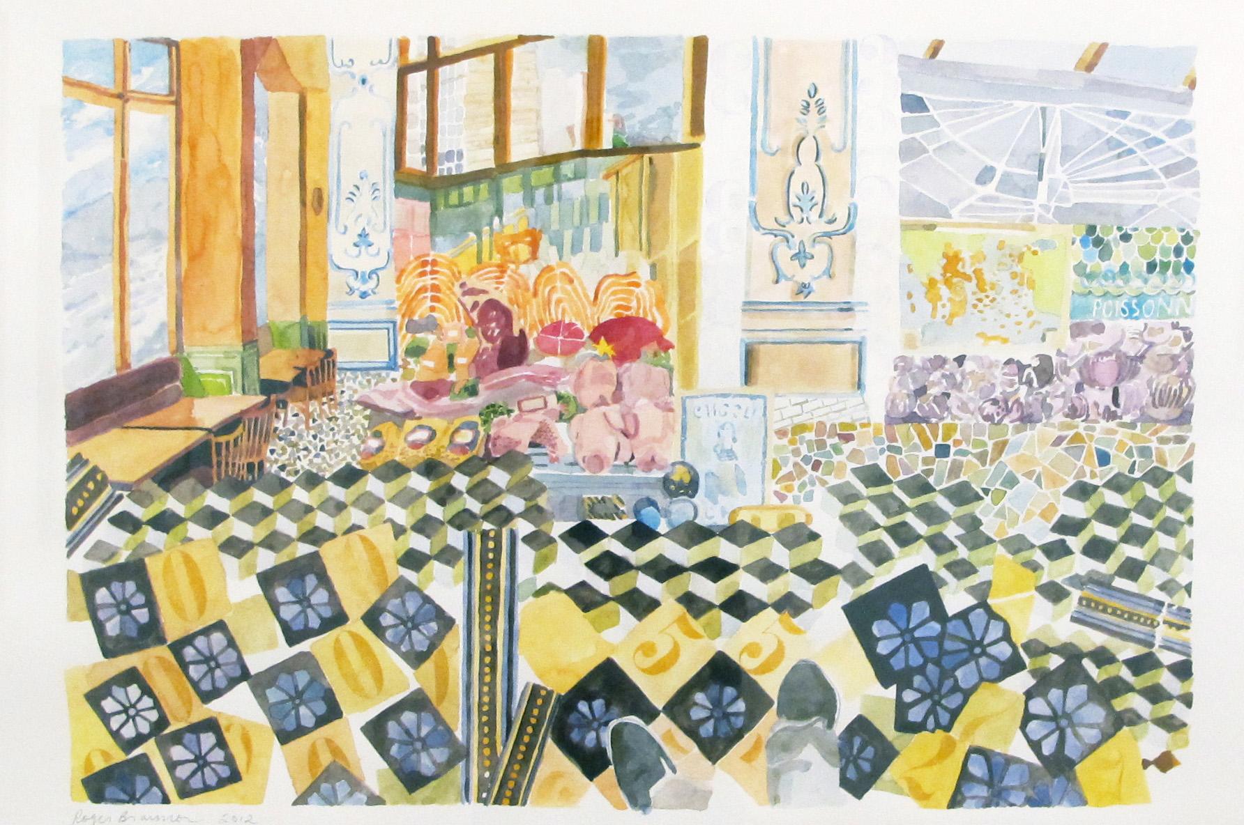 """2012. Paris Watercolor as collage. 22 x 30"""""""