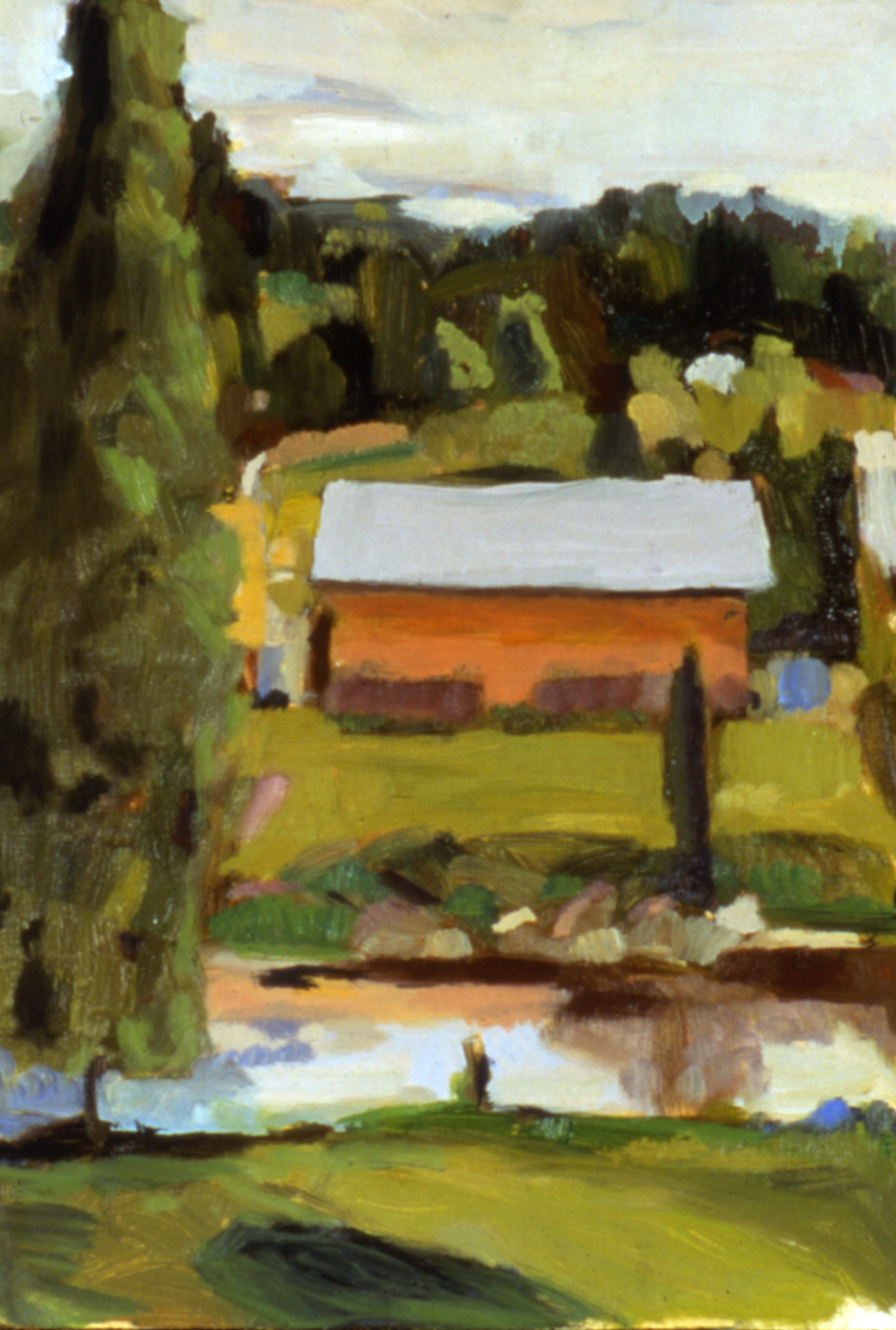 1991. Landscape at Vermont Studio Center. oil. 6 x 9""