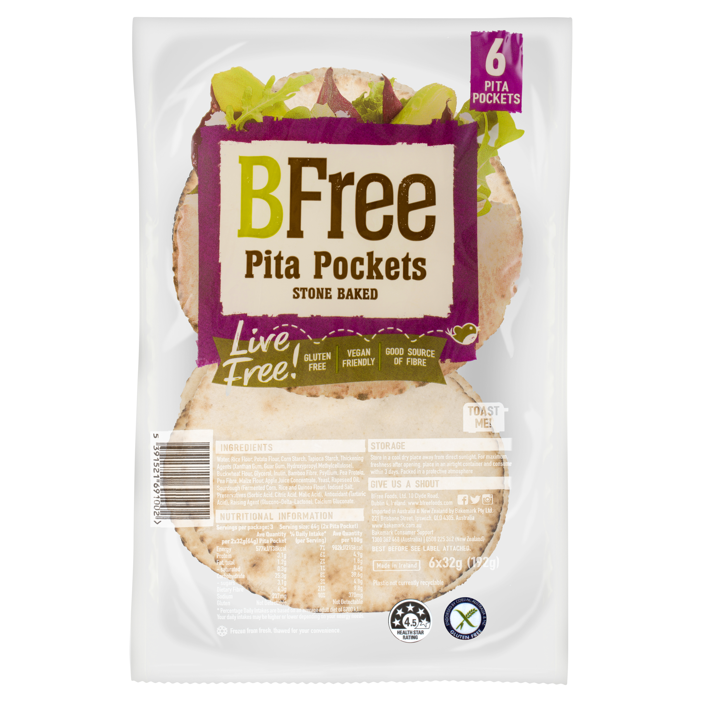 NEW!  BFree 6 Pita Pockets