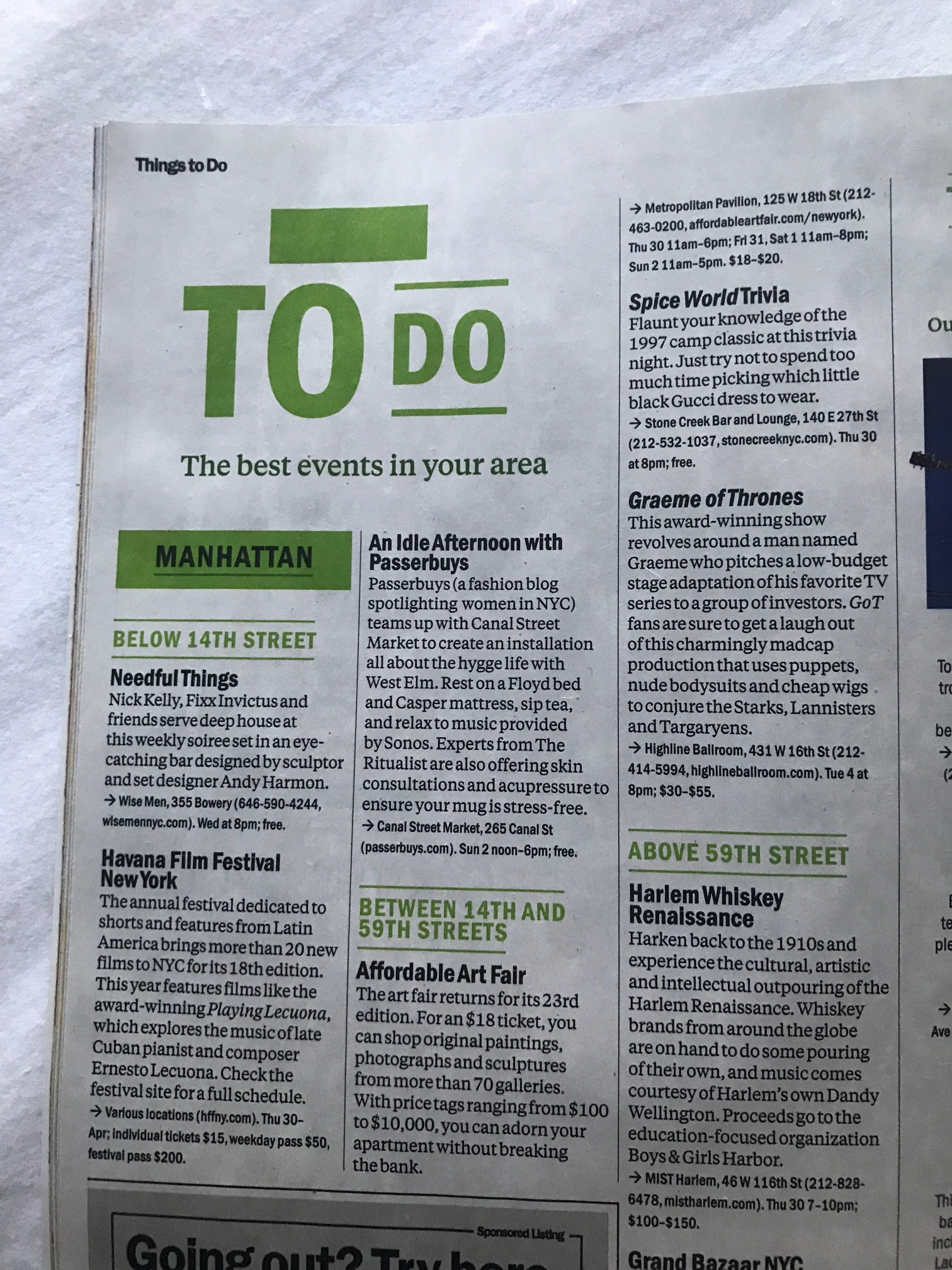 All events from the lounge featured in Timeout New York