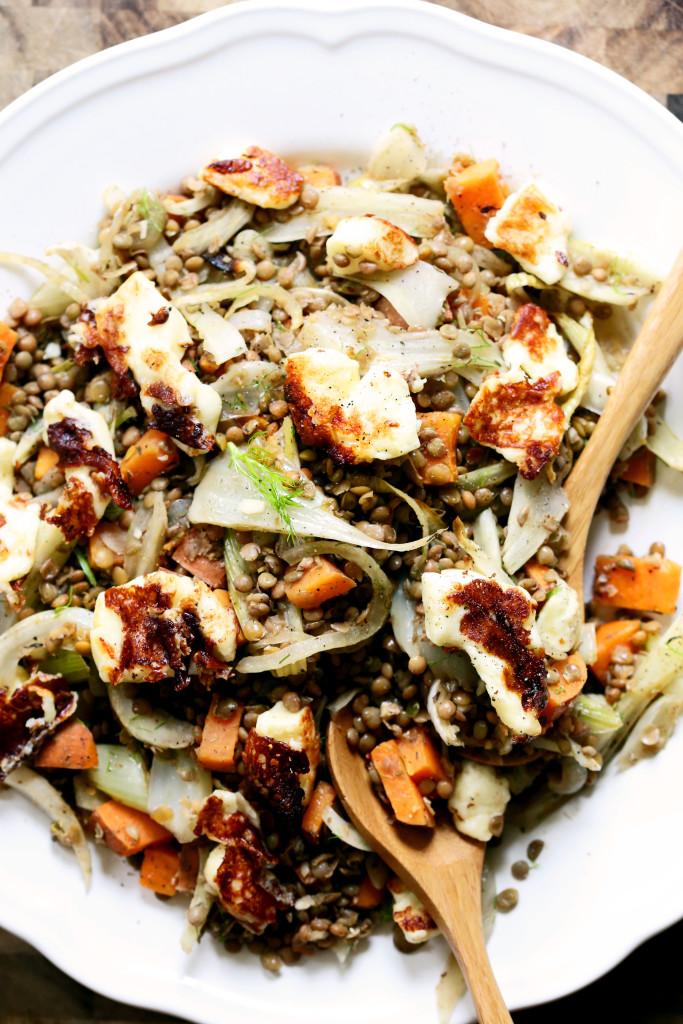 Lentil + haloumi salad - gluten free w low GI carb sources.