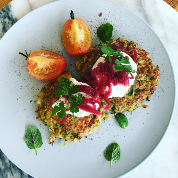 Sprout and halloumi fritters