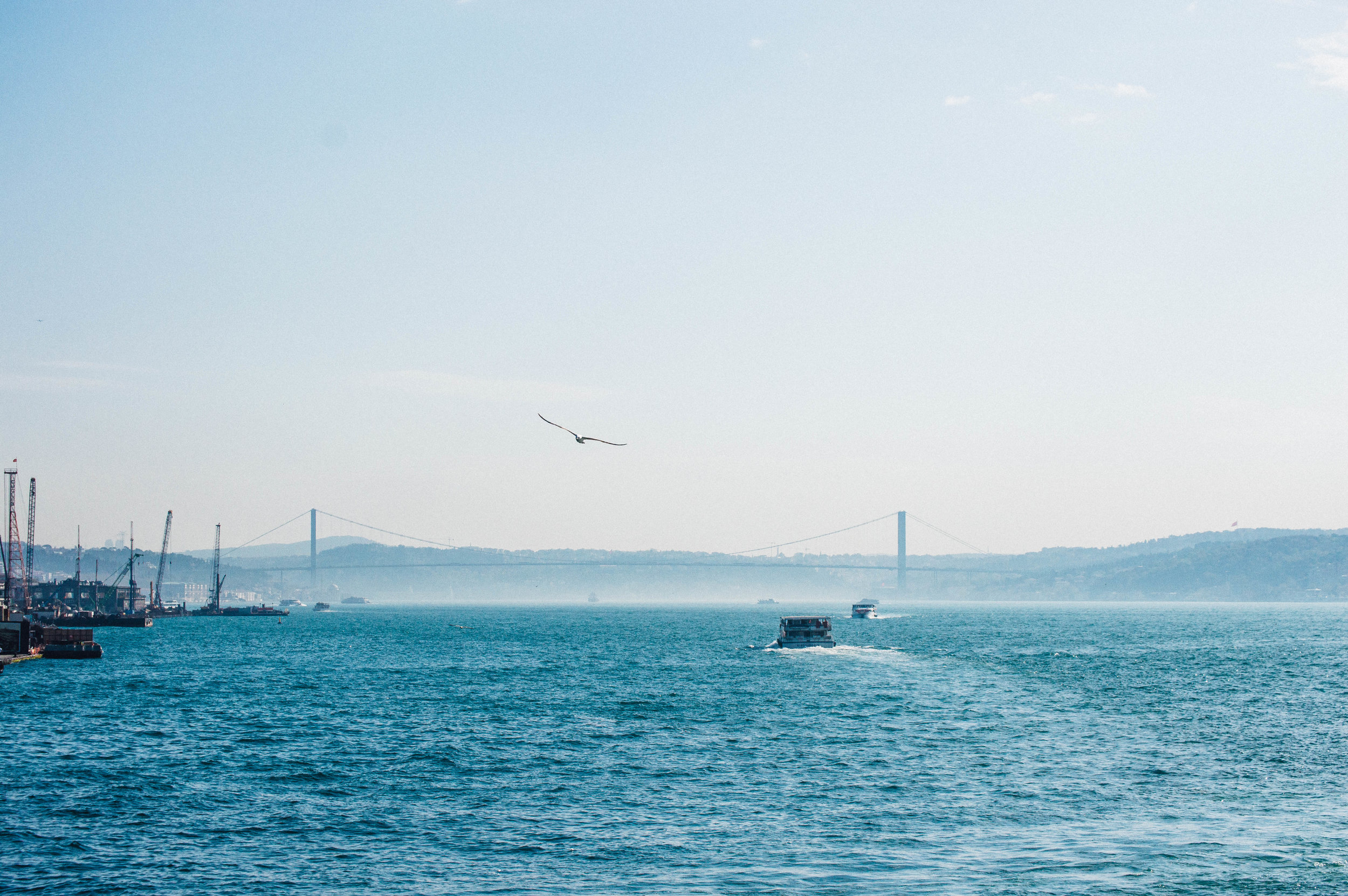 The Bosphorus Bridge in the distance connects Europe and Asia