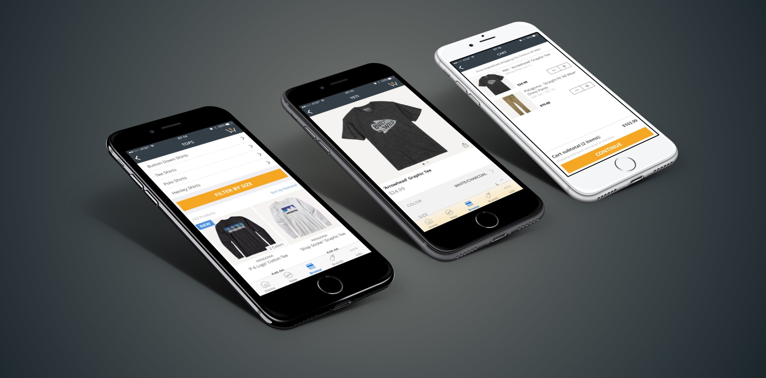 Man Outfitters iOS app on iPhone